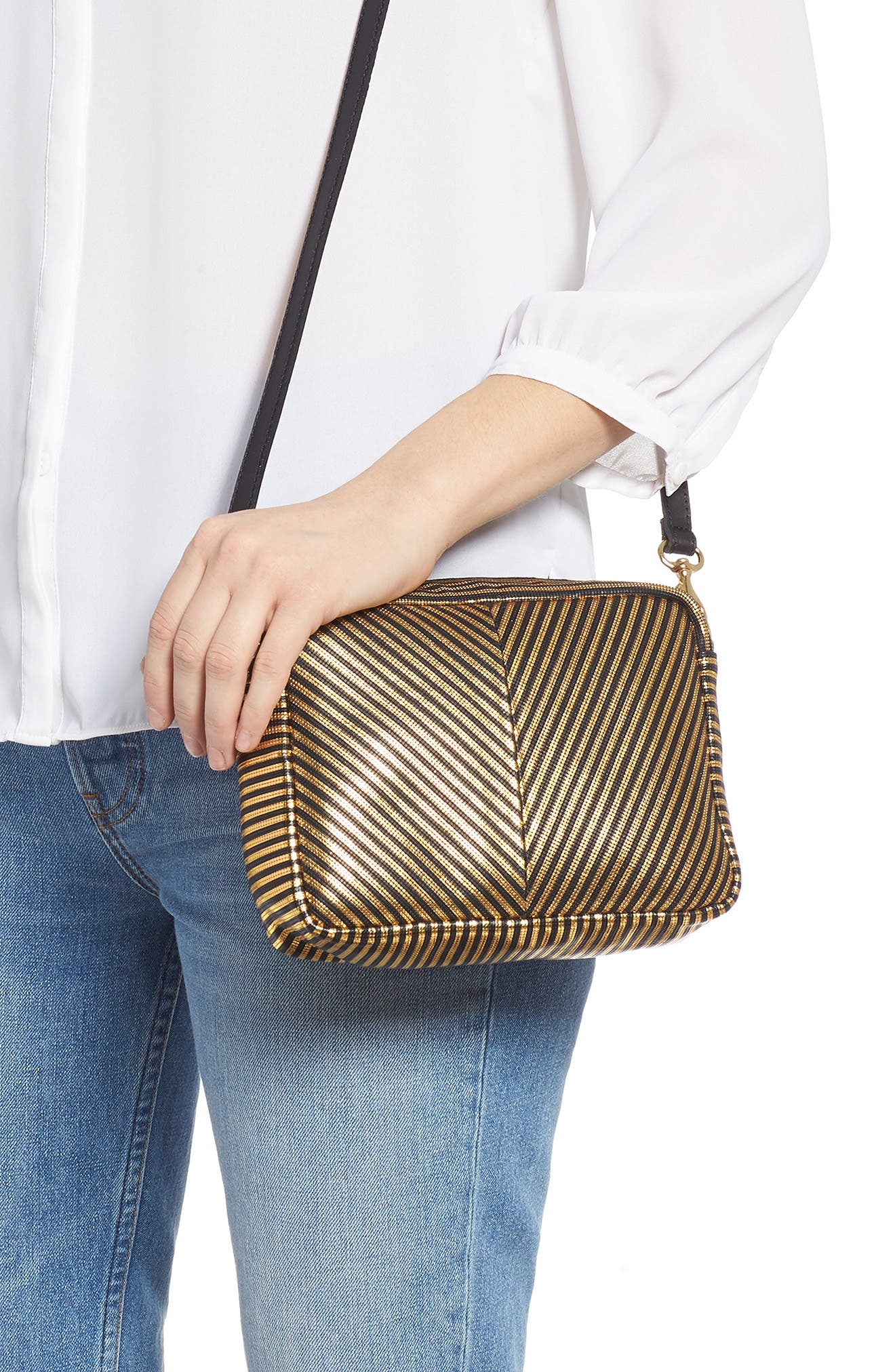 Midi Sac Disco Stripe Leather Crossbody Bag,                             Alternate thumbnail 2, color,                             DISCO STRIPE