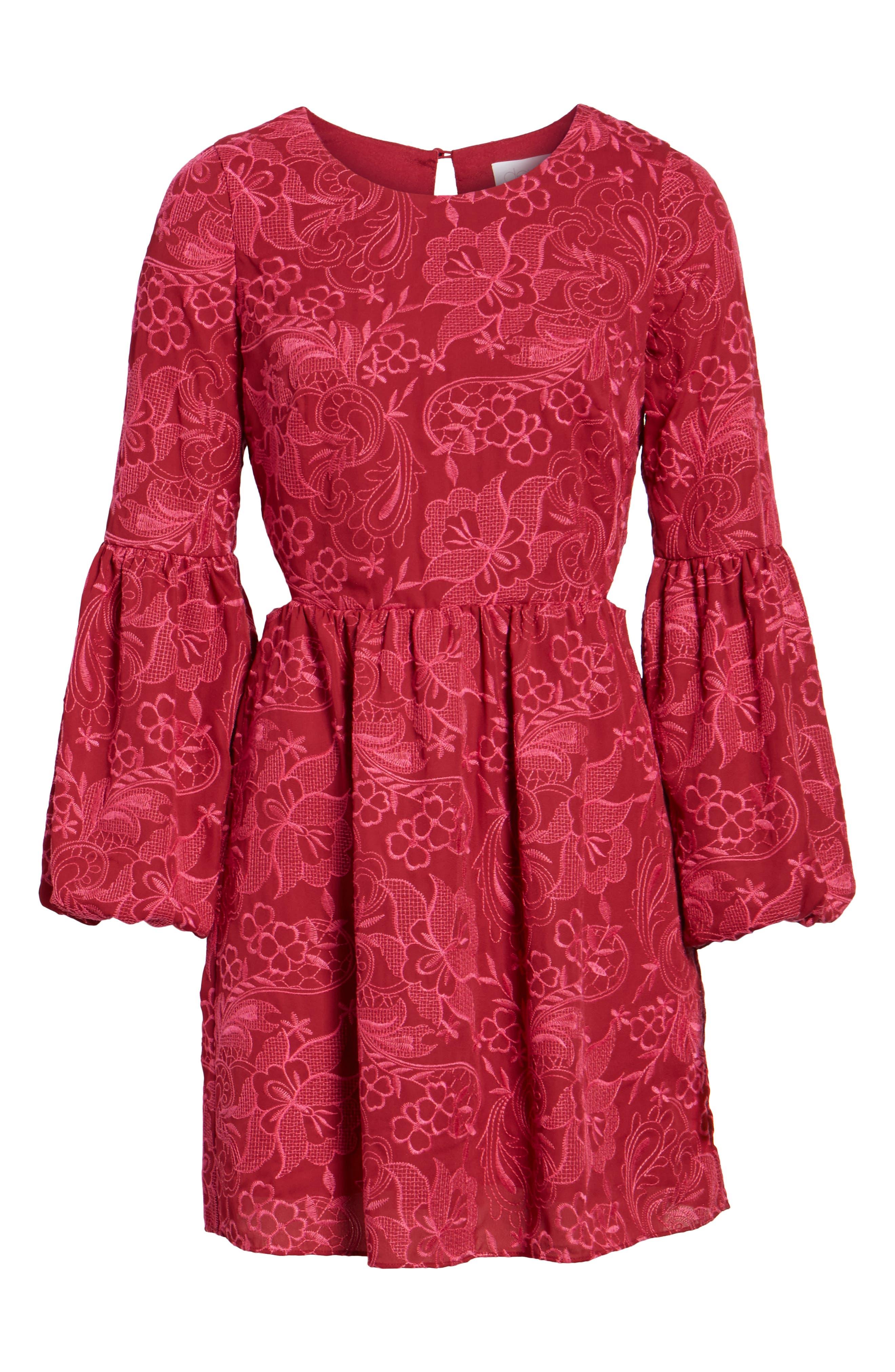Serafina Bell Sleeve Dress,                             Alternate thumbnail 6, color,                             400