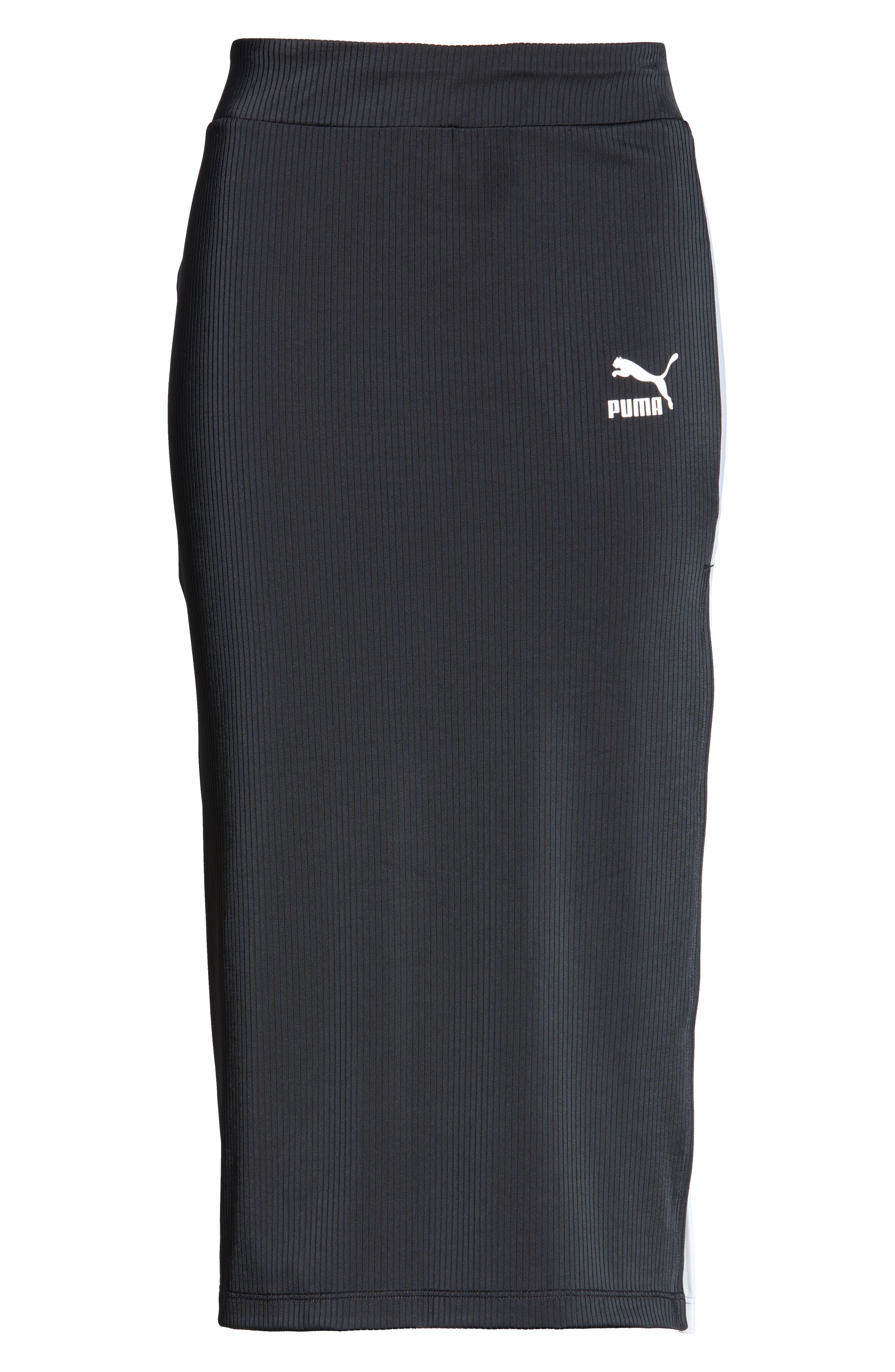 PUMA,                             Classics Ribbed Skirt,                             Alternate thumbnail 7, color,                             PUMA BLACK