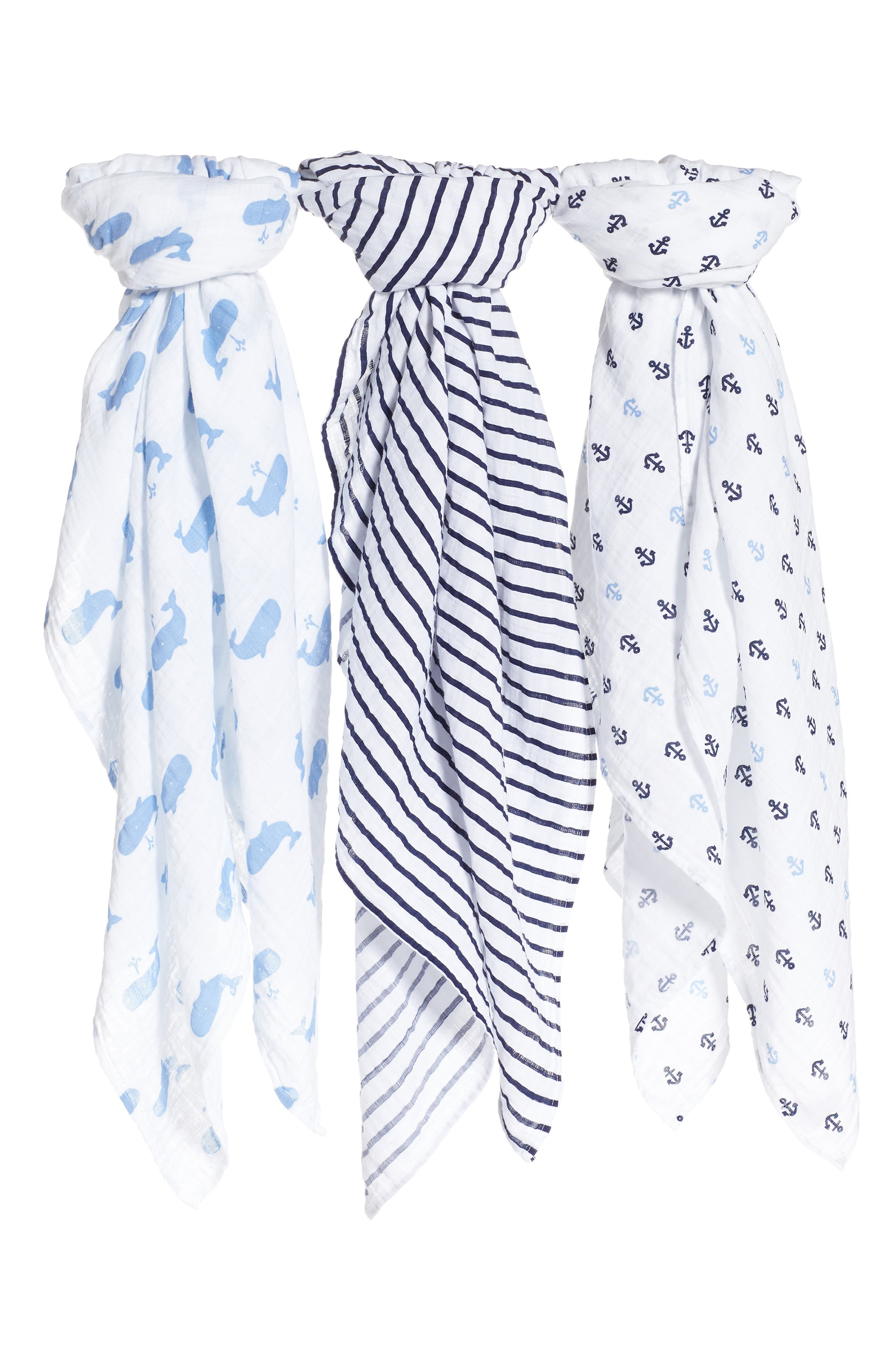 3-Pack Muslin Swaddles,                         Main,                         color, WHALE PACK