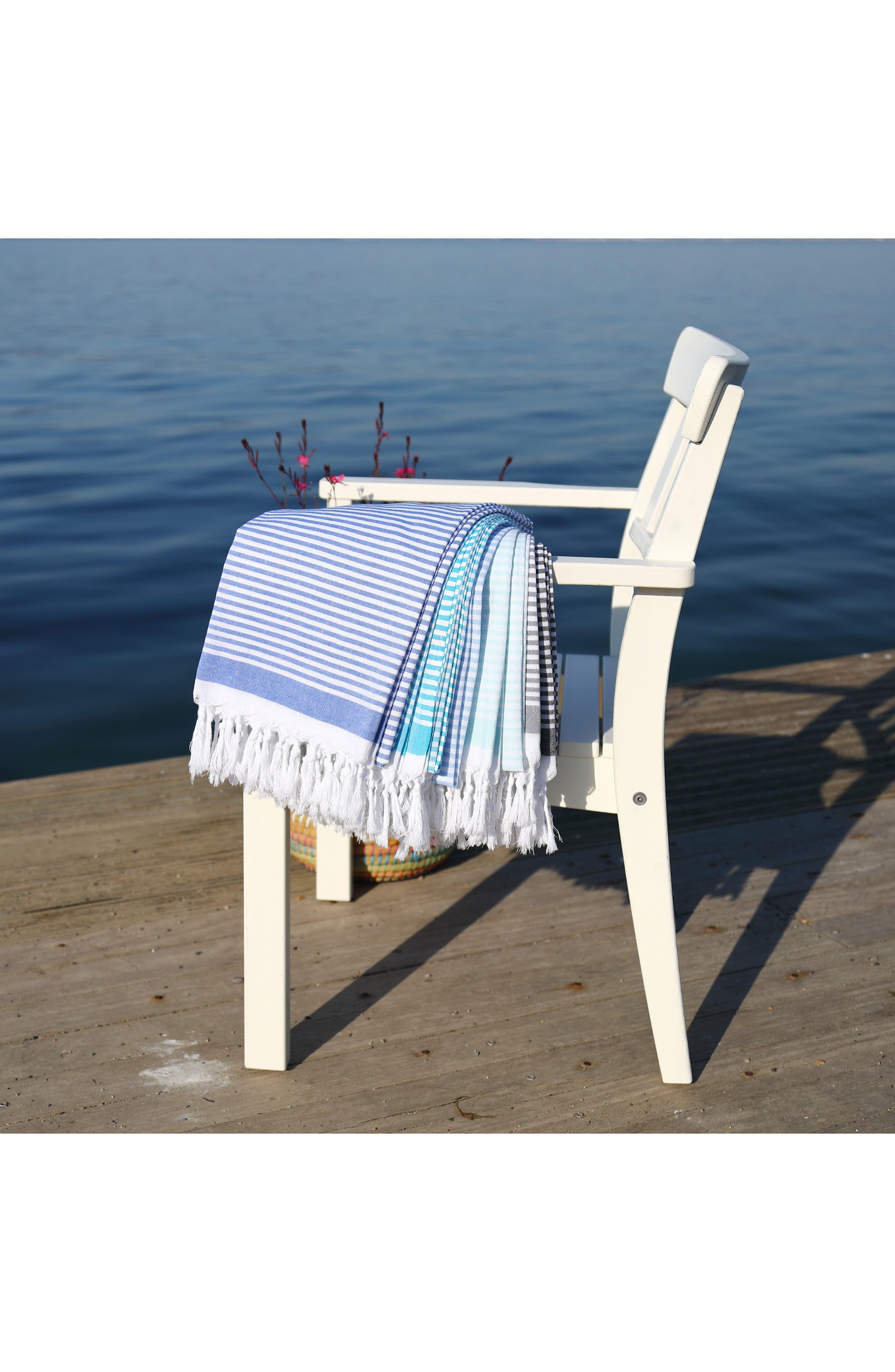 Soft Stripes Turkish Pestemal Towel,                             Alternate thumbnail 6, color,                             BLACK