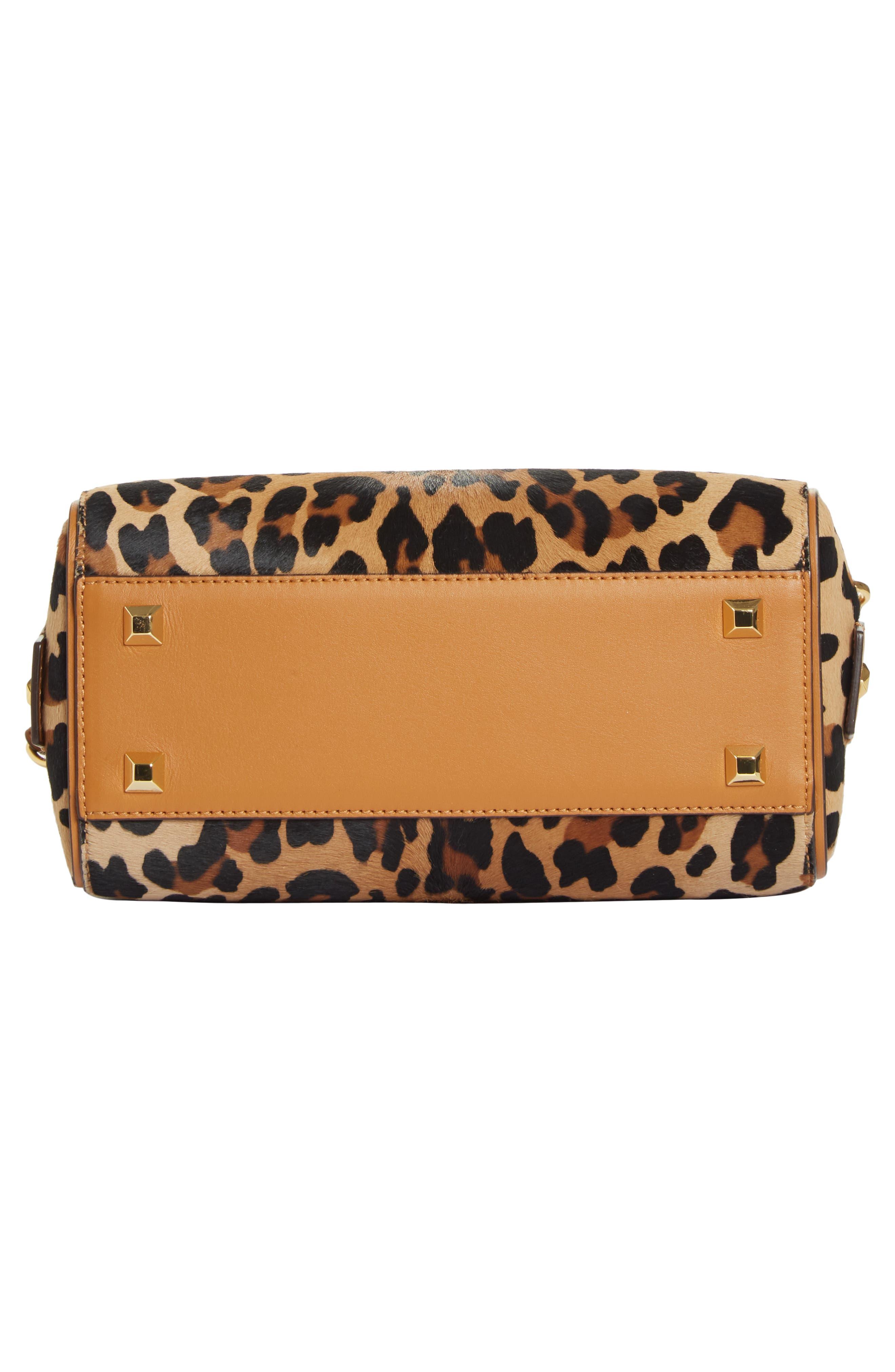 MCM,                             Small Boston Leopard Calf Hair Bowler Bag,                             Alternate thumbnail 8, color,                             LEOPARD