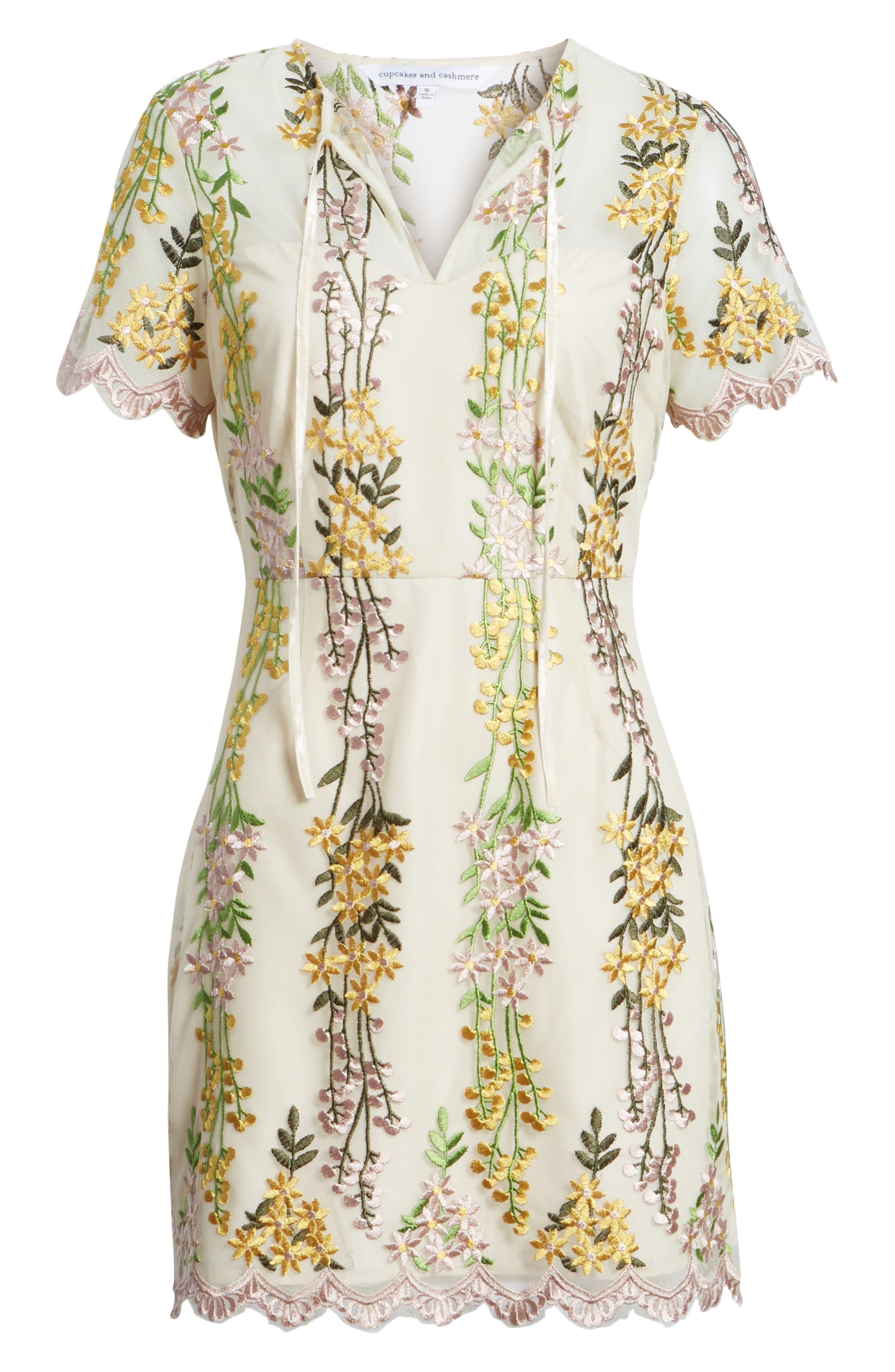 Gram Embroidered Minidress,                             Alternate thumbnail 7, color,                             SOFT BEIGE