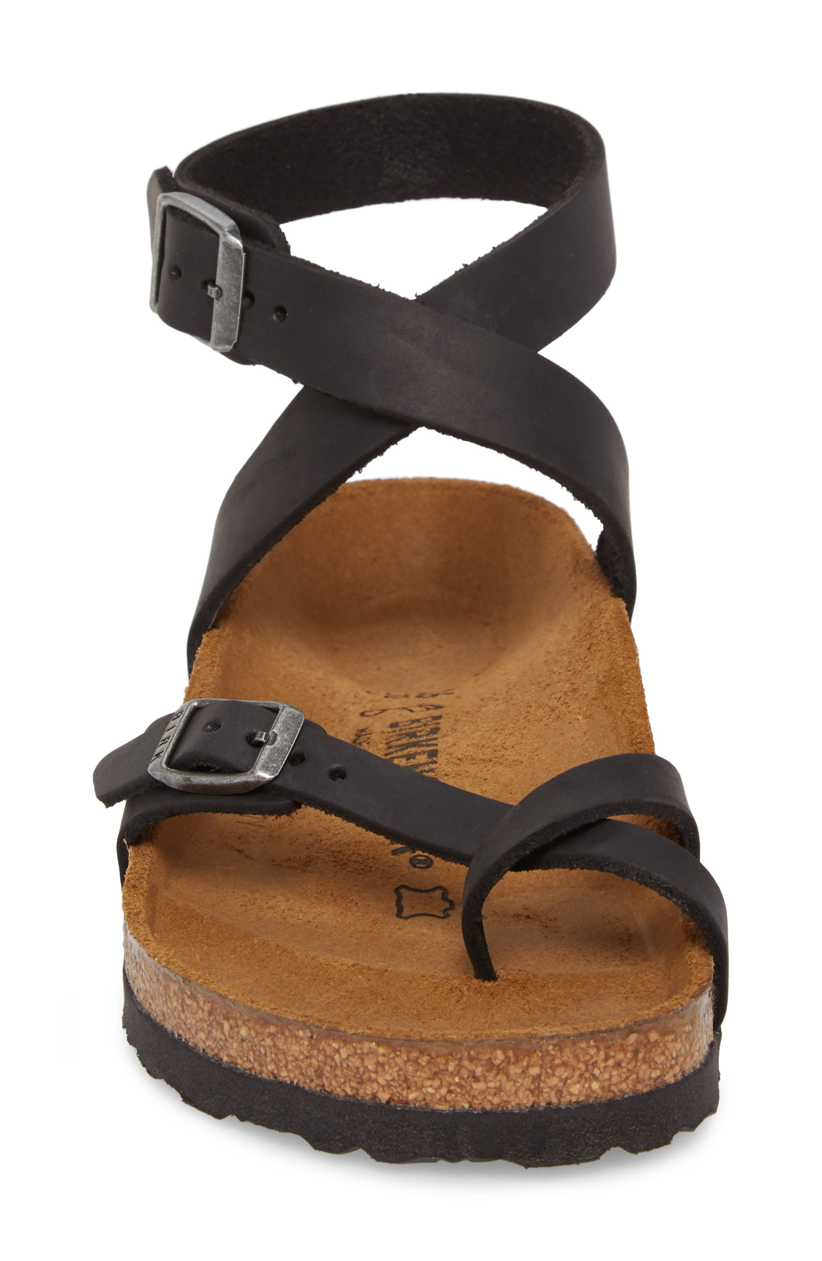 'Yara' Sandal,                             Alternate thumbnail 4, color,                             BLACK OILED LEATHER