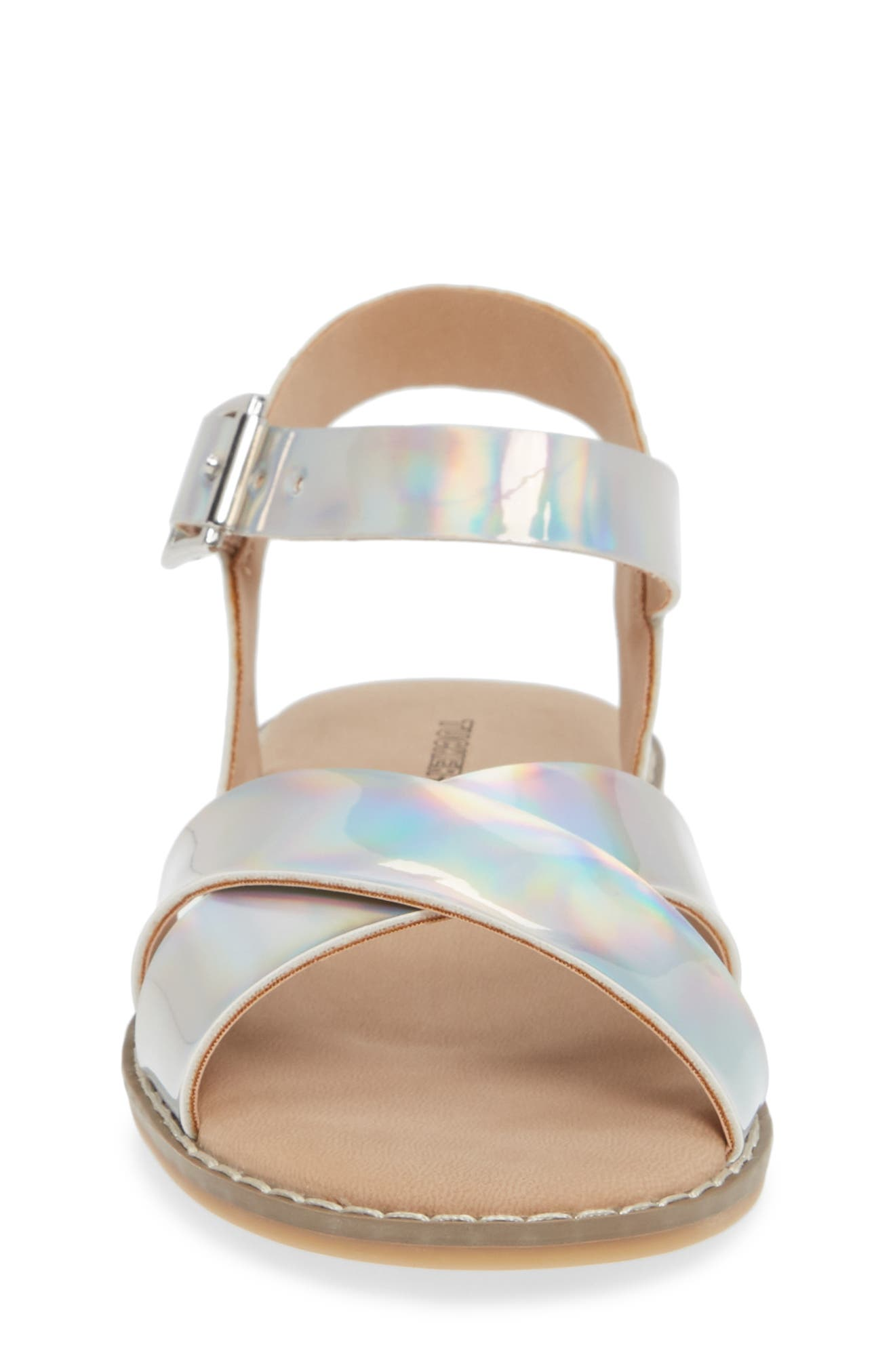 Arya Cross Strap Sandal,                             Alternate thumbnail 4, color,                             SILVER HOLOGRAM FAUX LEATHER