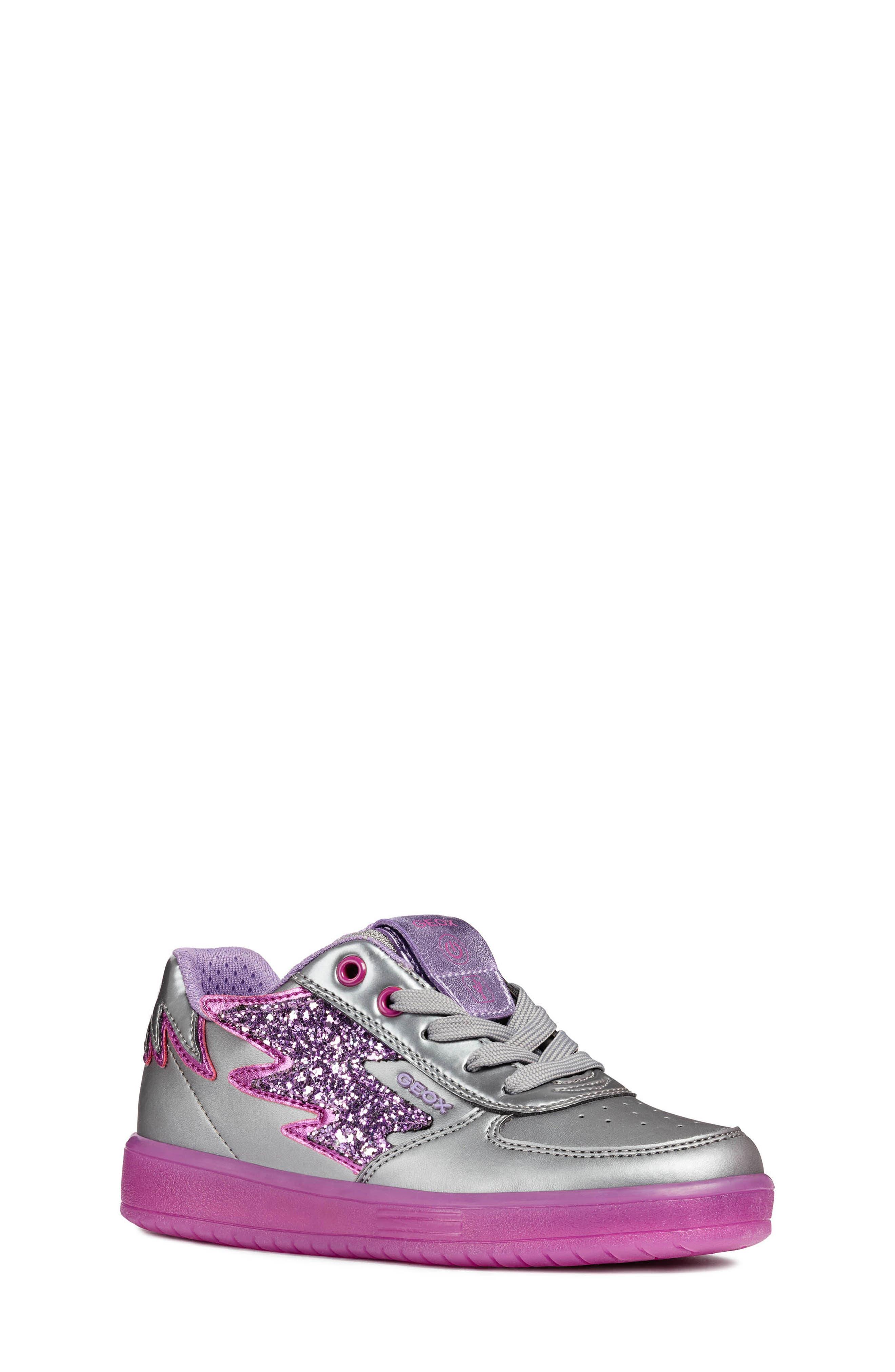 Kommodor Glitter Light Up Sneaker,                             Main thumbnail 1, color,                             DARK SILVER/LILAC