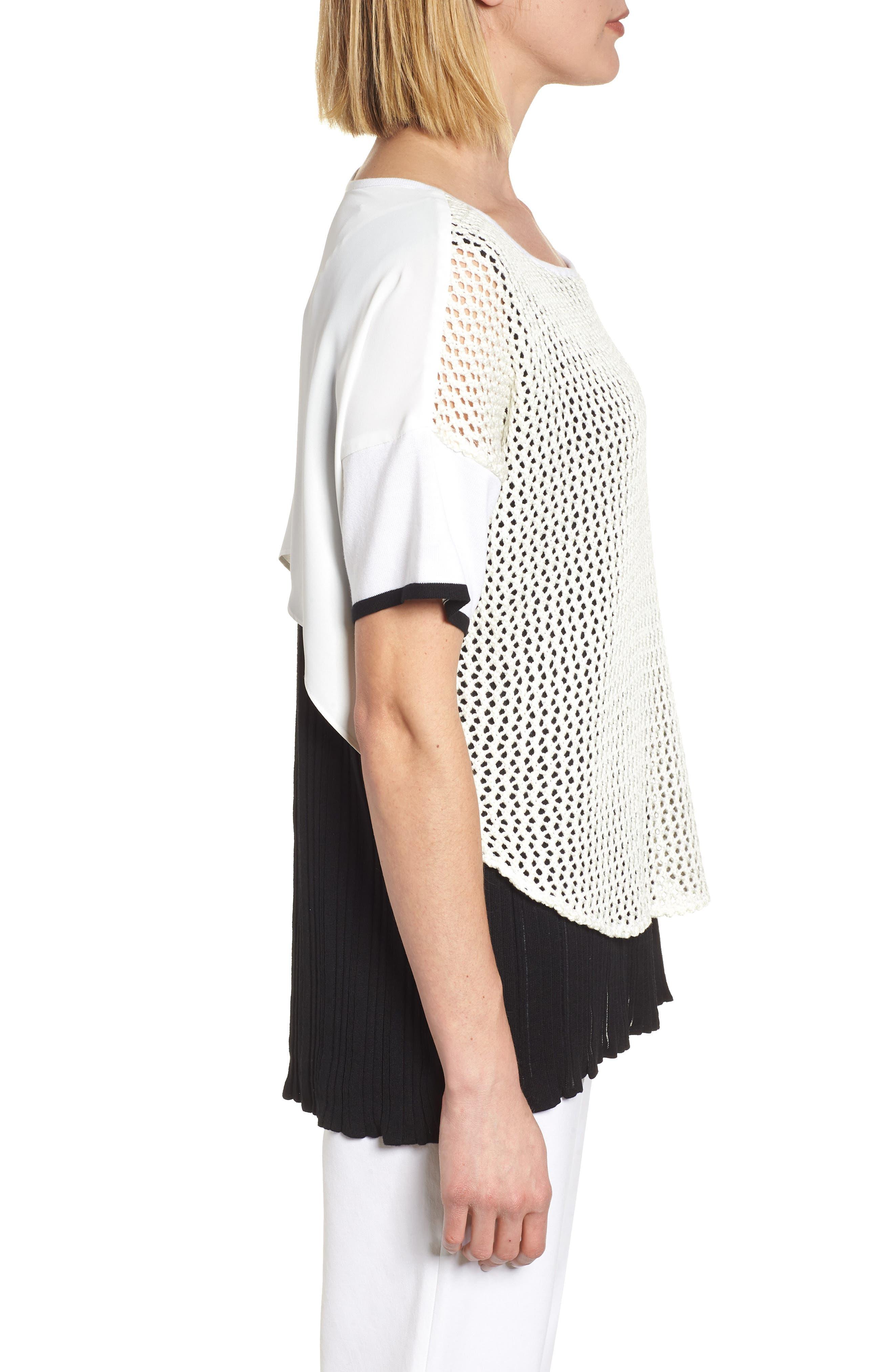 Mixed Media Short Sleeve Tunic Top,                             Alternate thumbnail 3, color,                             WHITE/ BLACK