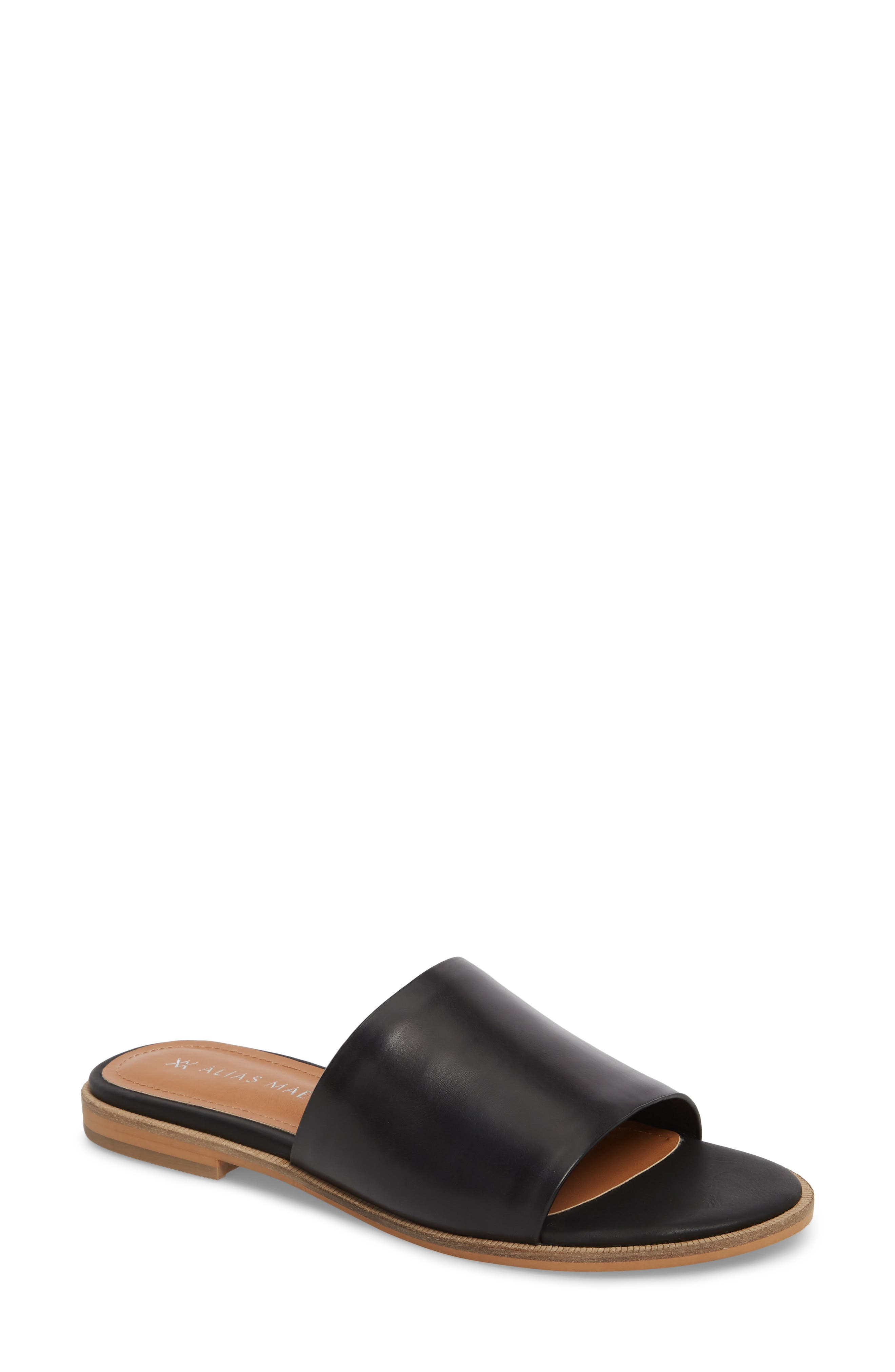 Therapy Slide Sandal,                             Main thumbnail 1, color,                             BLACK LEATHER