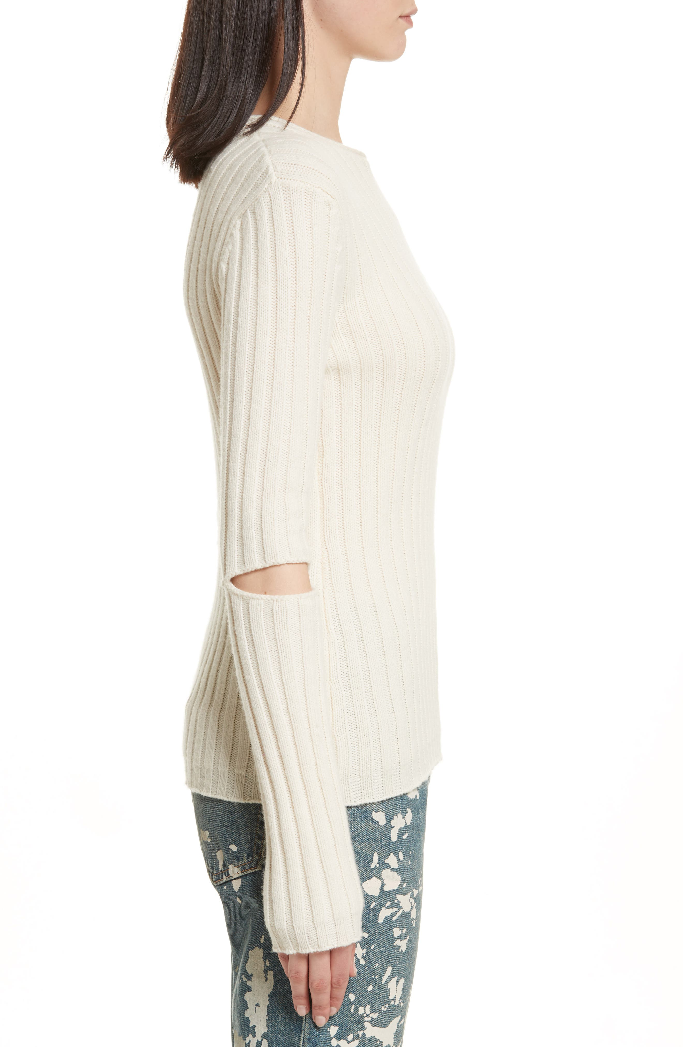 Re-Edition Elbow Cutout Lambswool Sweater,                             Alternate thumbnail 6, color,