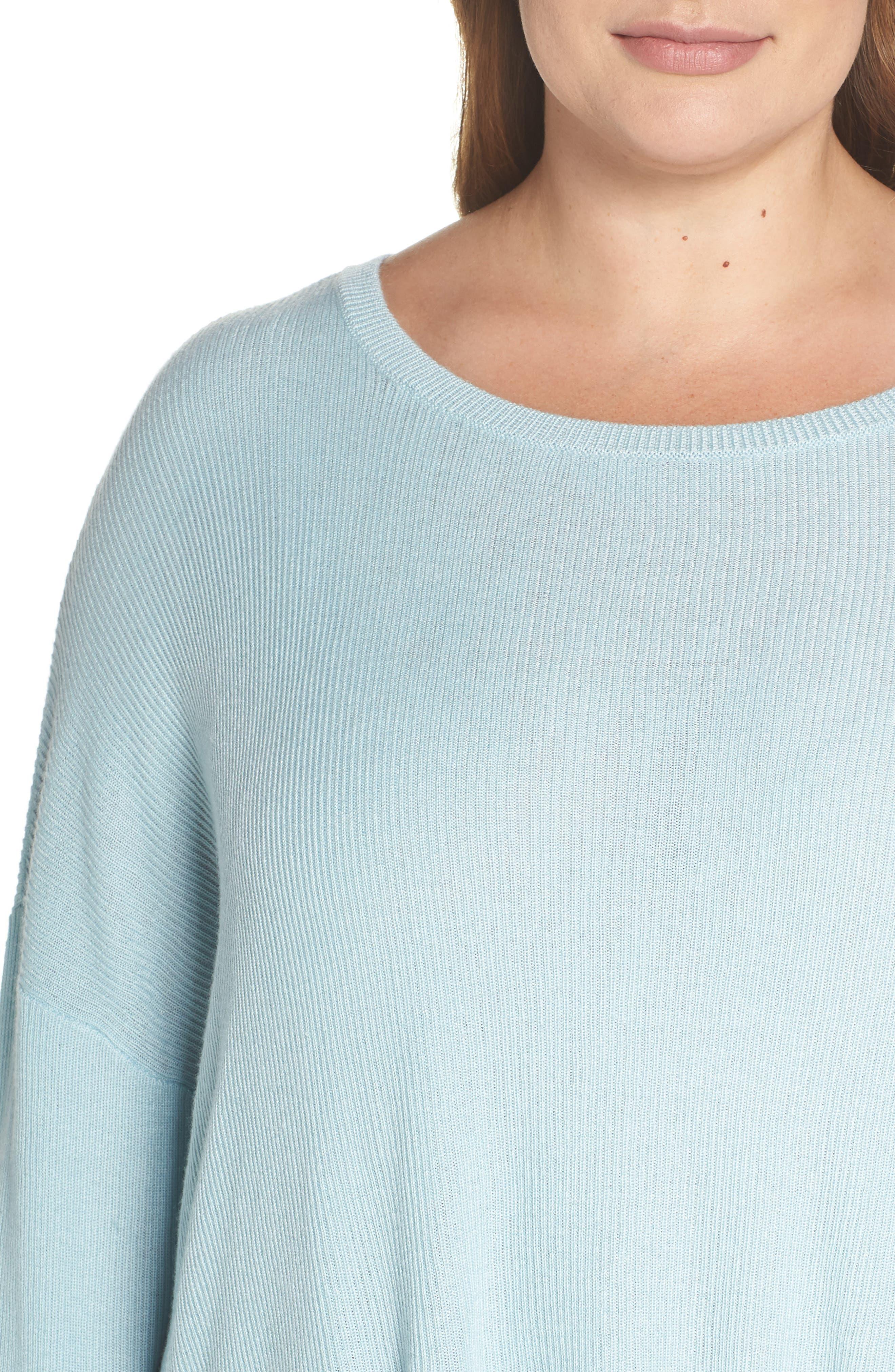 Drop Shoulder Ribbed Sweater,                             Alternate thumbnail 4, color,                             BLUE STERLING