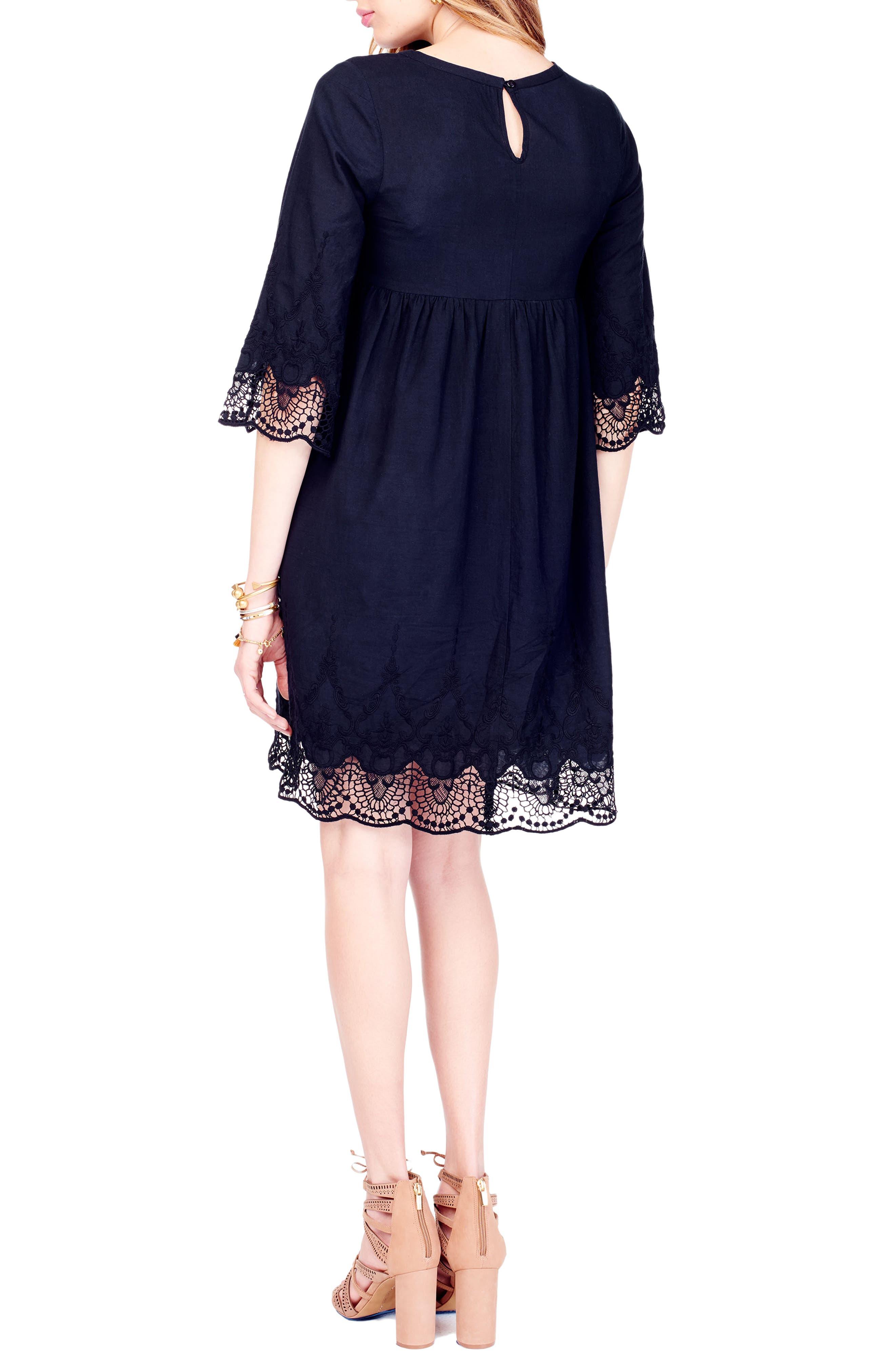 Lace Trim Maternity Dress,                             Alternate thumbnail 2, color,                             001