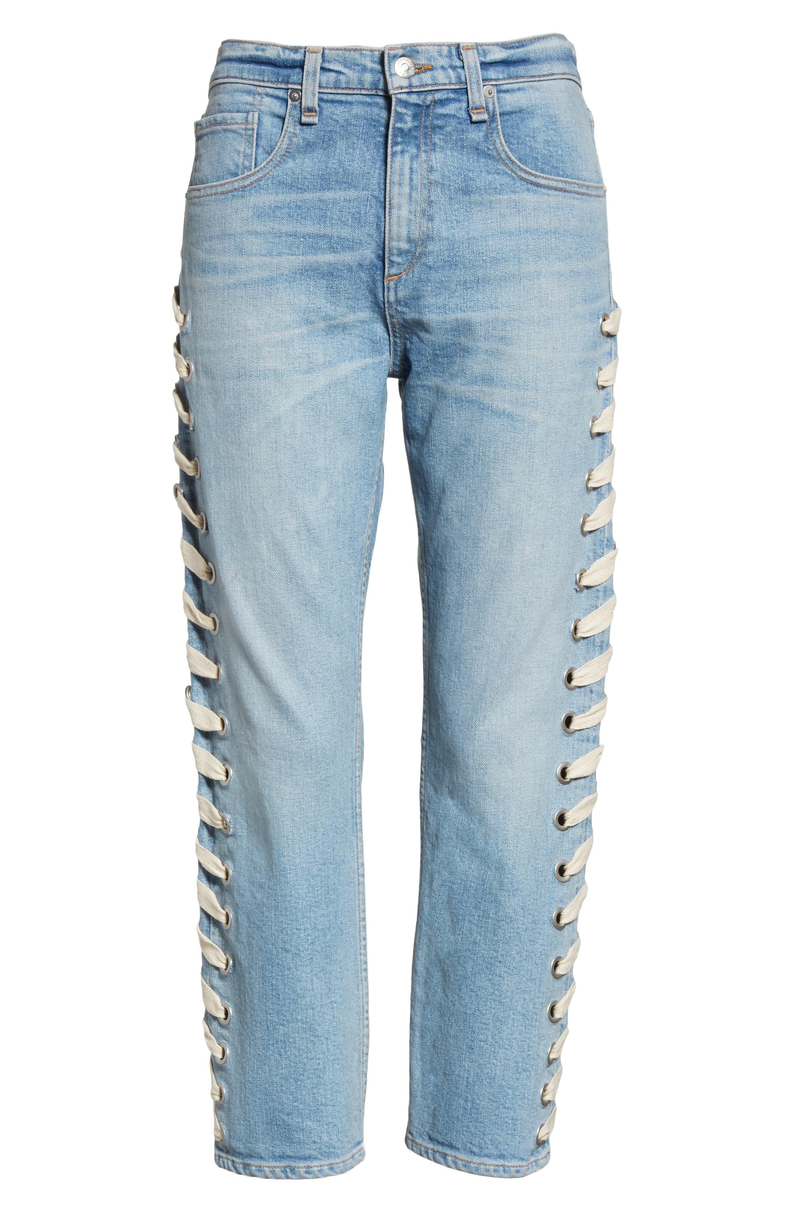Ines Girlfriend Crop Jeans,                             Alternate thumbnail 6, color,                             452