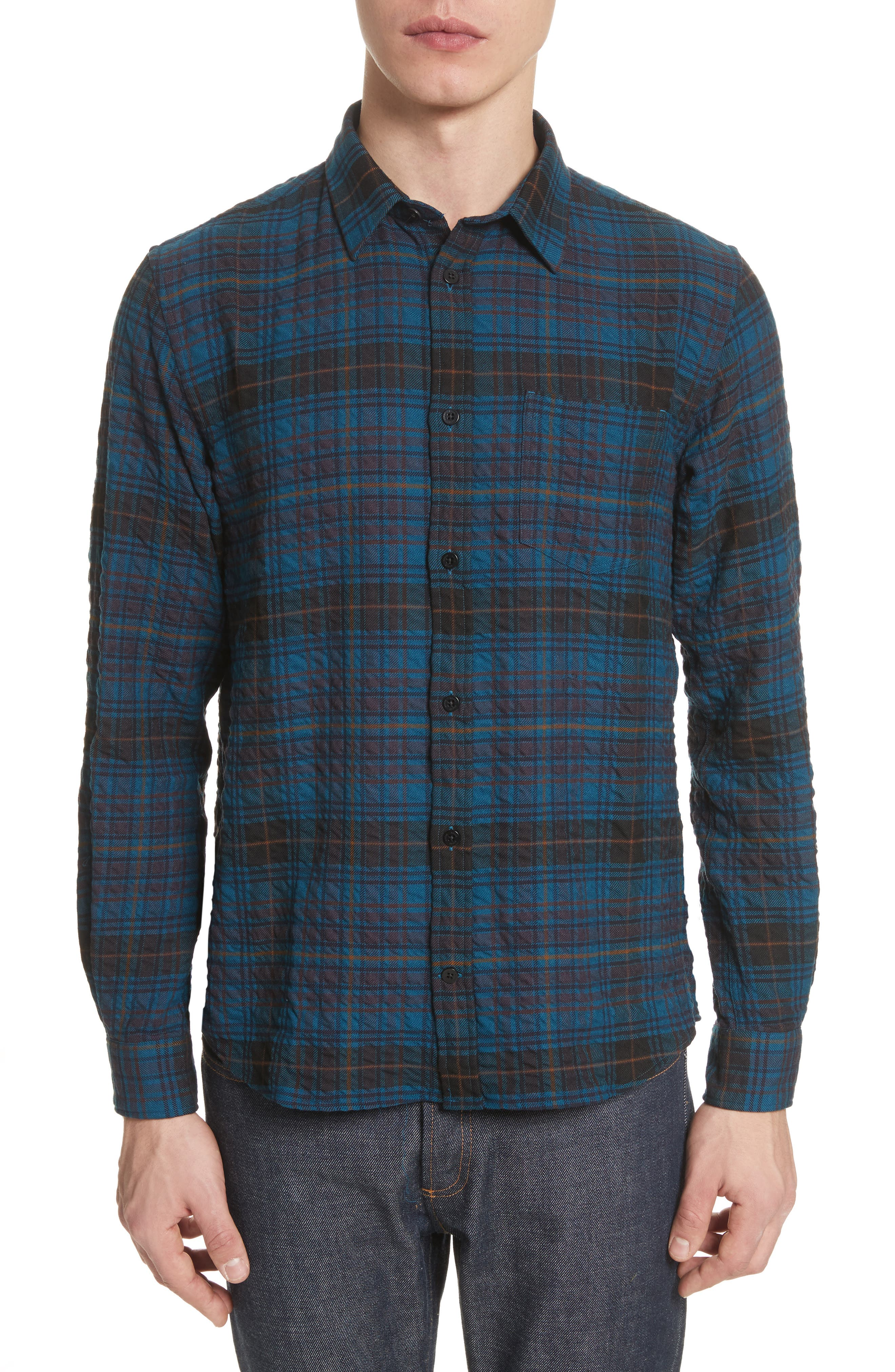 Osvald Textured Check Flannel Shirt,                             Main thumbnail 1, color,                             411
