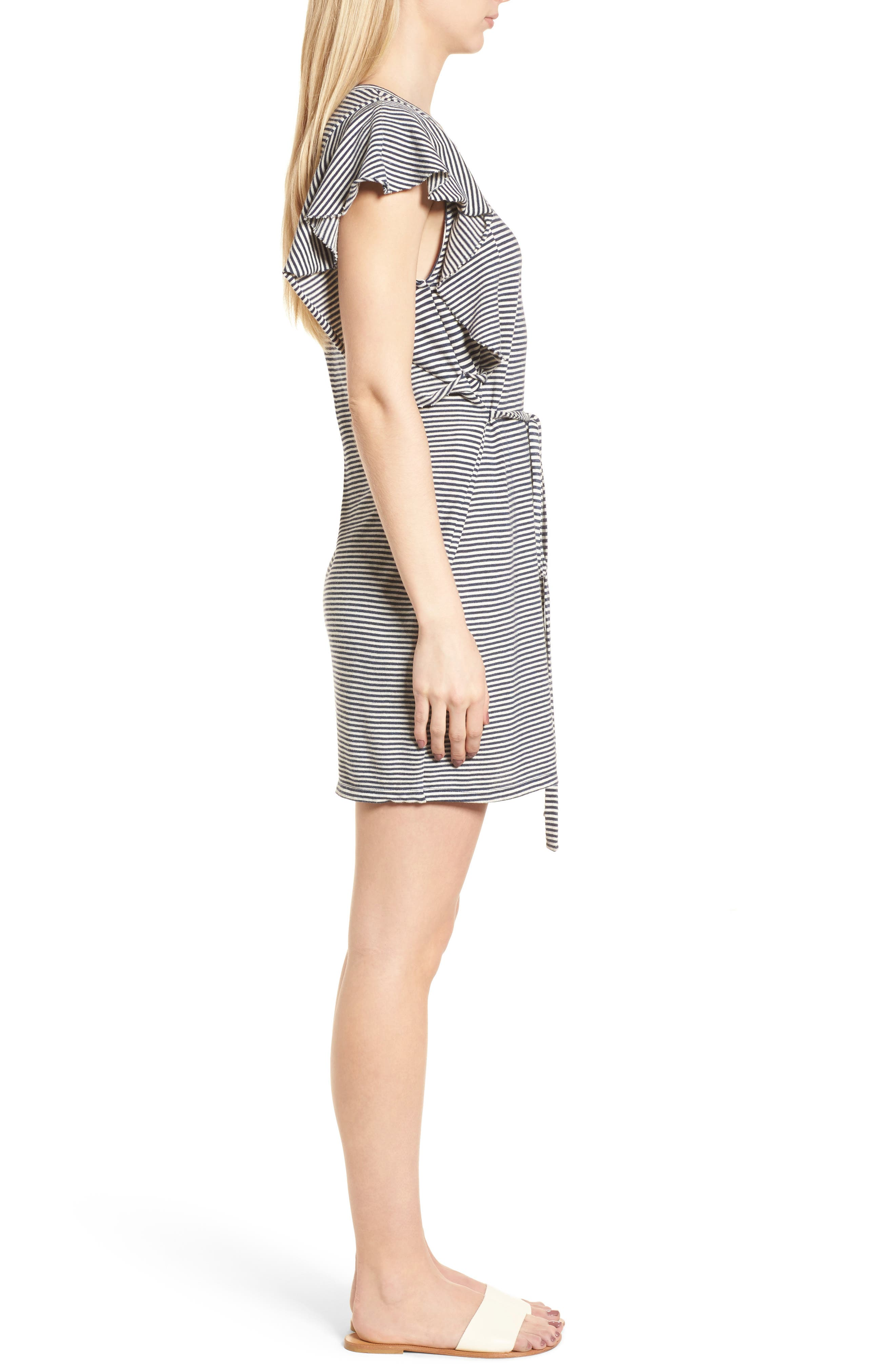 Stripe Ruffle Dress,                             Alternate thumbnail 3, color,                             409