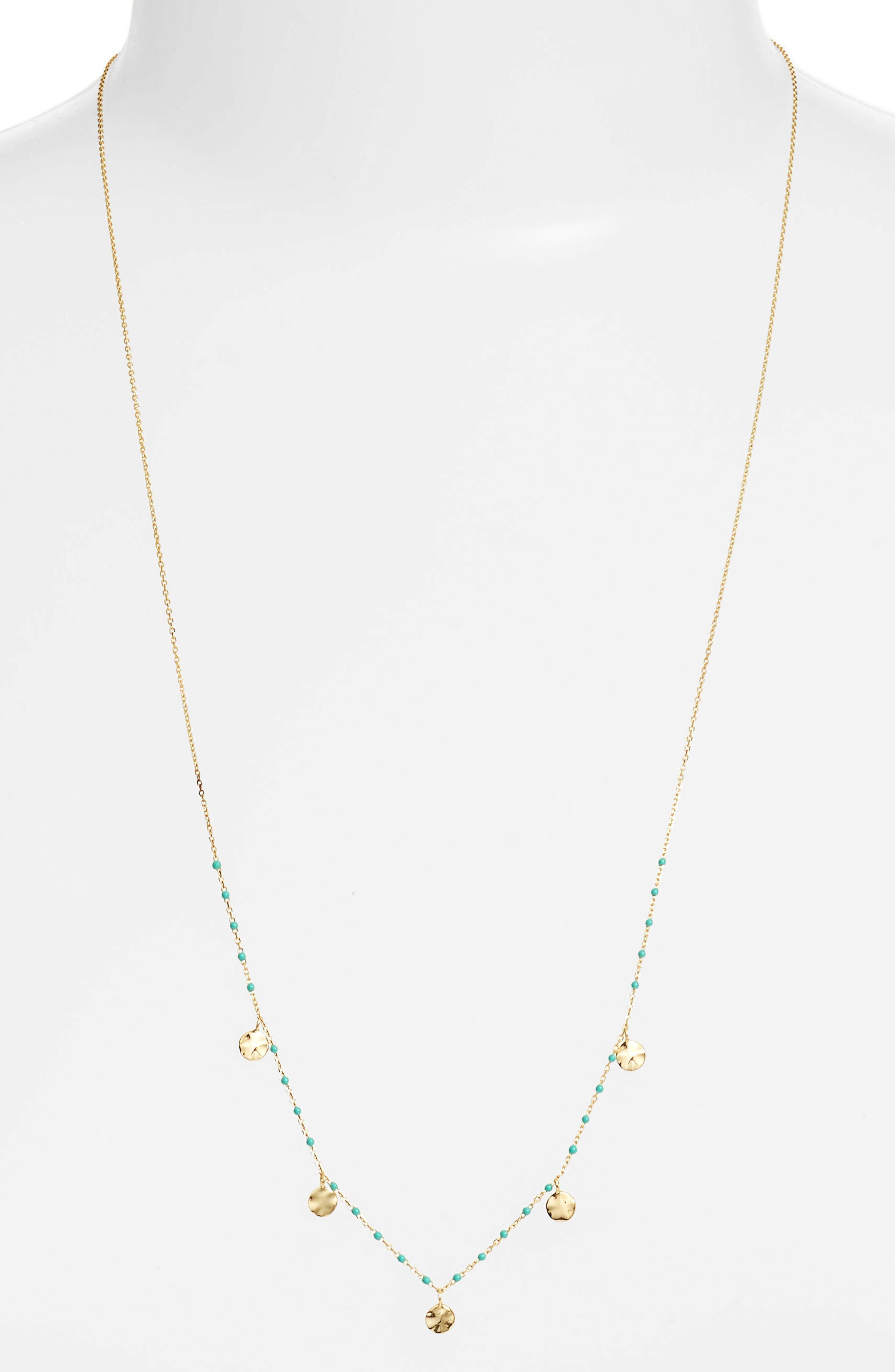 Enamel Bead Mirror Drop Necklace,                             Main thumbnail 1, color,                             TURQUOISE/ GOLD