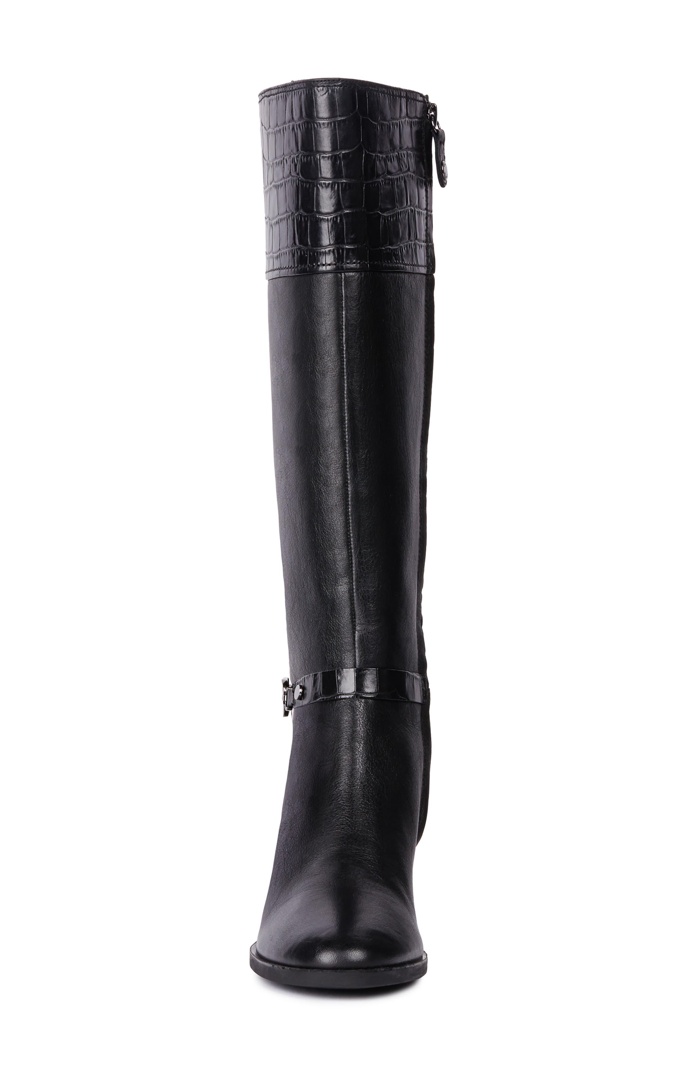 Glynna Knee High Boot,                             Alternate thumbnail 4, color,                             BLACK/ BLACK LEATHER