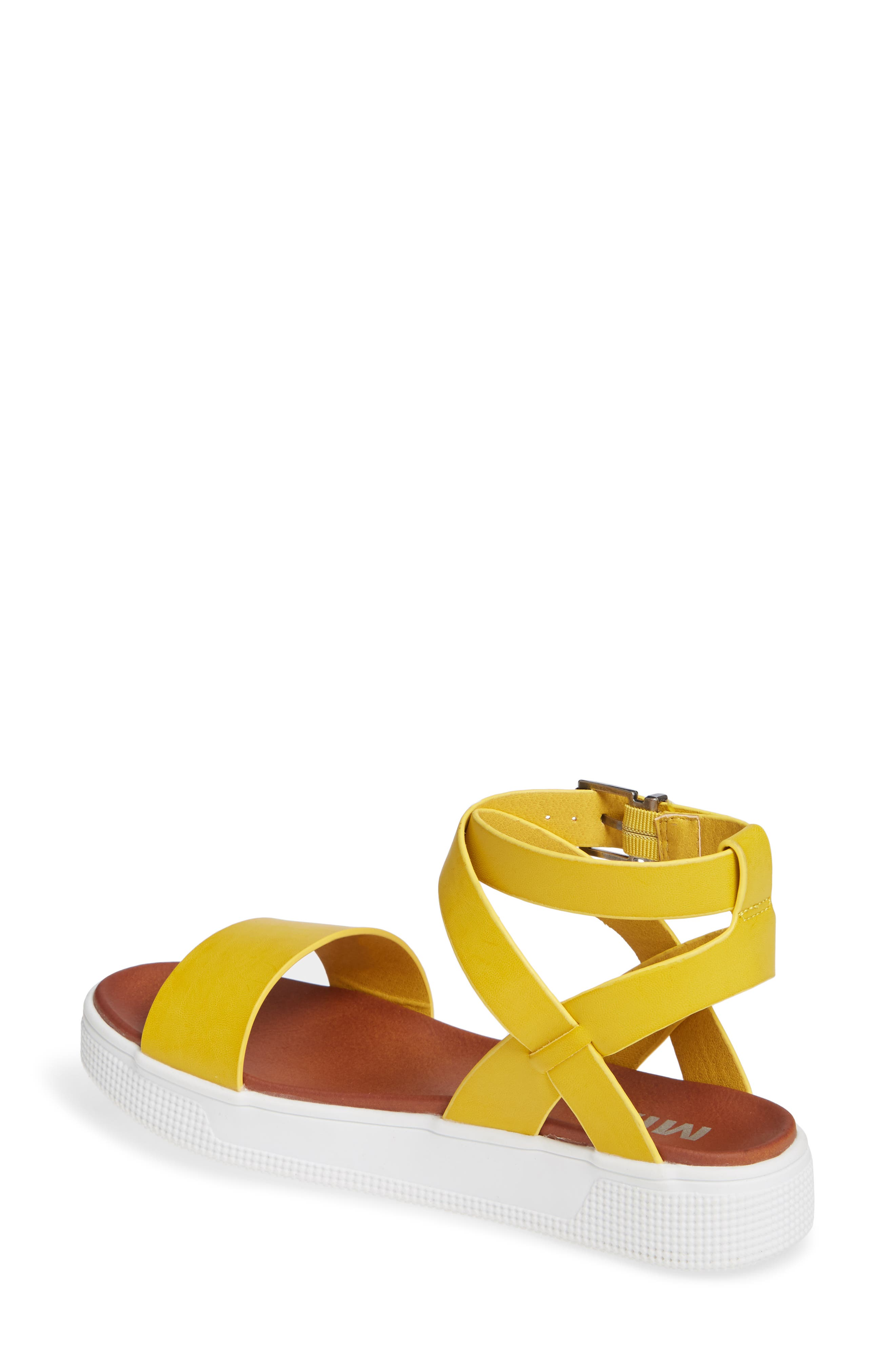 Calla Platform Sandal,                             Alternate thumbnail 2, color,                             YELLOW FAUX LEATHER