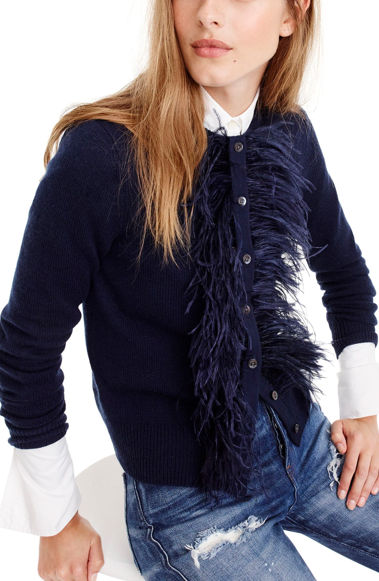 Faux Feather Wool Blend Cardigan,                             Main thumbnail 2, color,