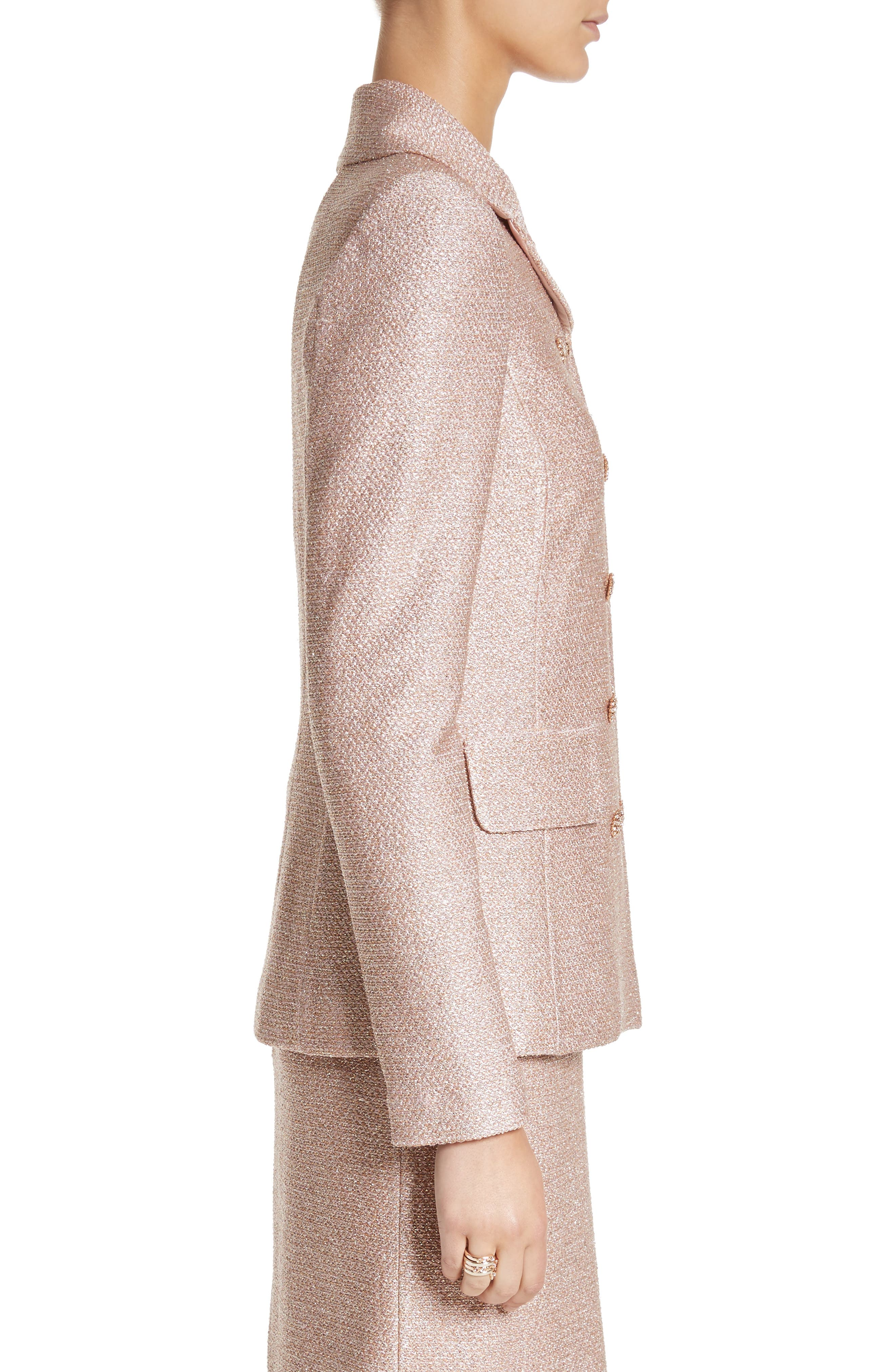 Double Breasted Frosted Metallic Knit Jacket,                             Alternate thumbnail 3, color,                             660