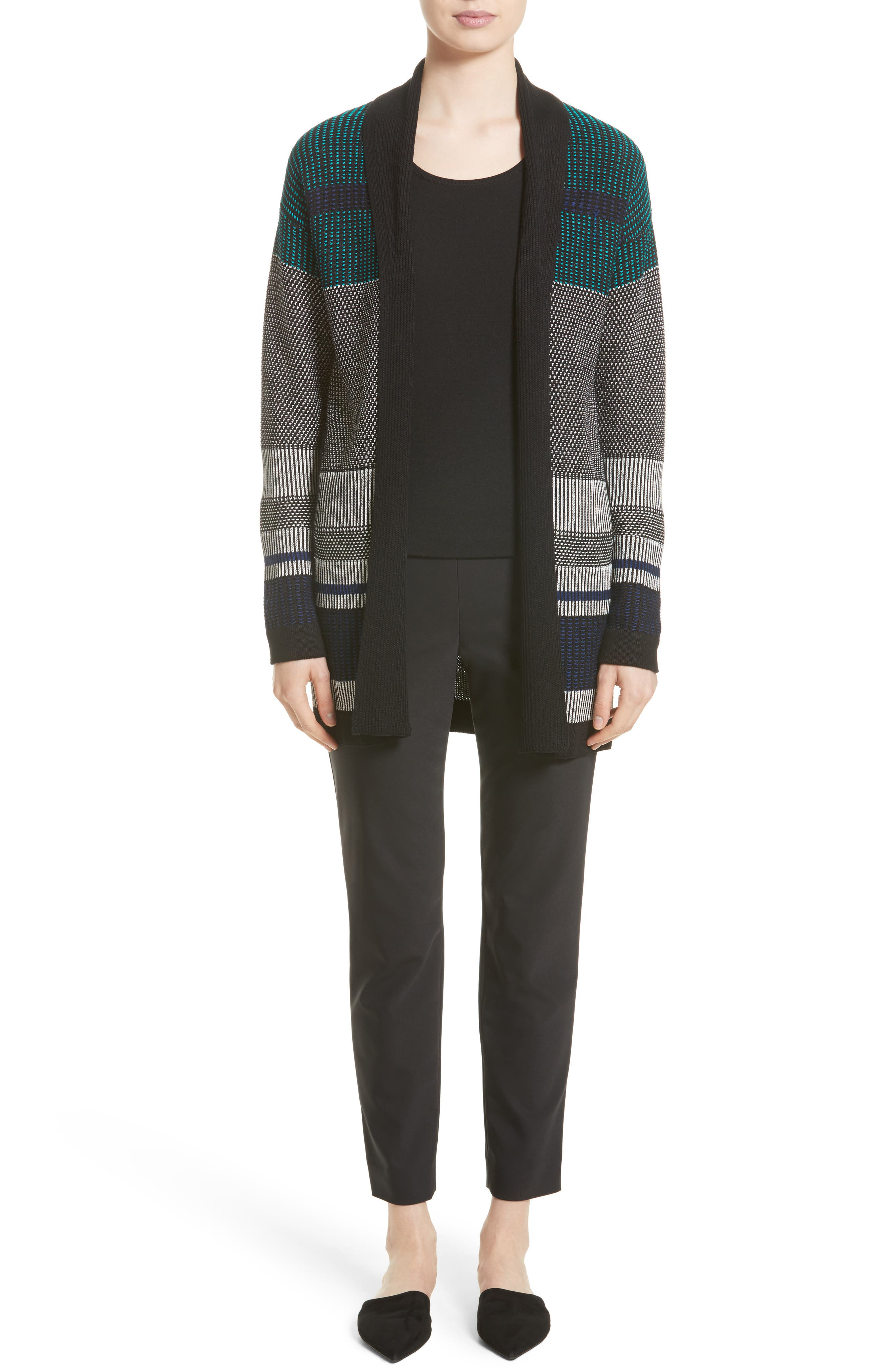 Engineered Inlay Stitch Knit Cardigan,                             Alternate thumbnail 6, color,                             020
