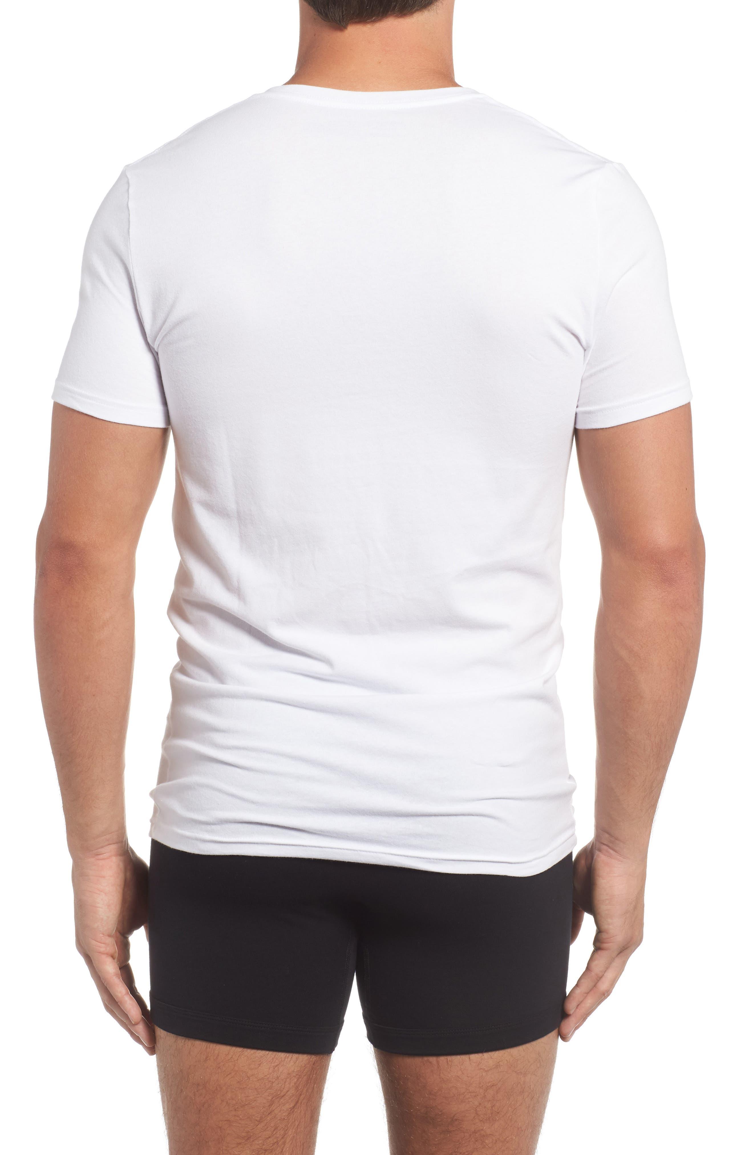 Trim Fit 3-Pack Stretch Cotton V-Neck T-Shirt,                             Alternate thumbnail 3, color,                             WHITE