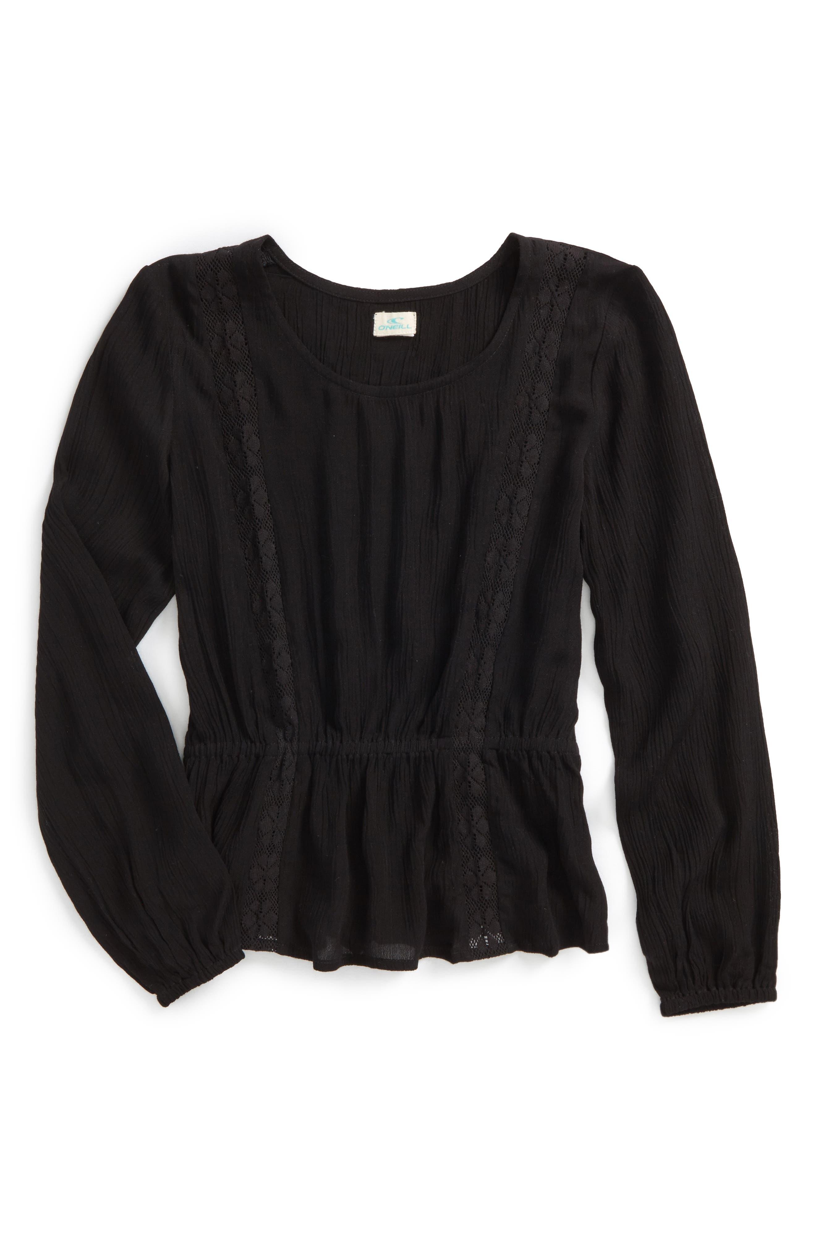 O'NEILL Woven Long Sleeve Top, Main, color, 001