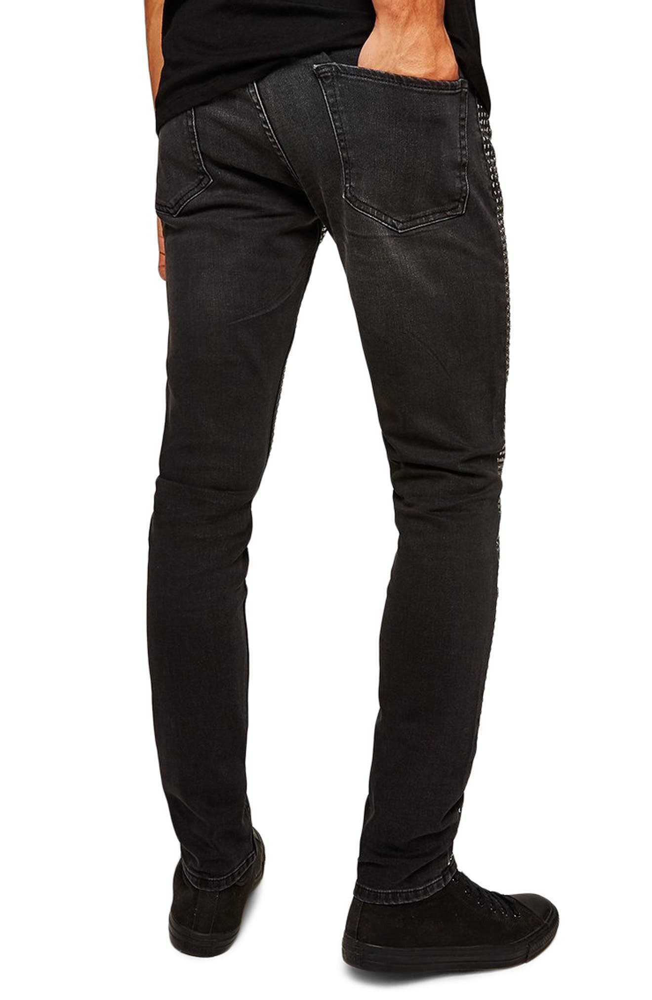 Ozzy Stud Stretch Skinny Jeans,                             Alternate thumbnail 2, color,                             001