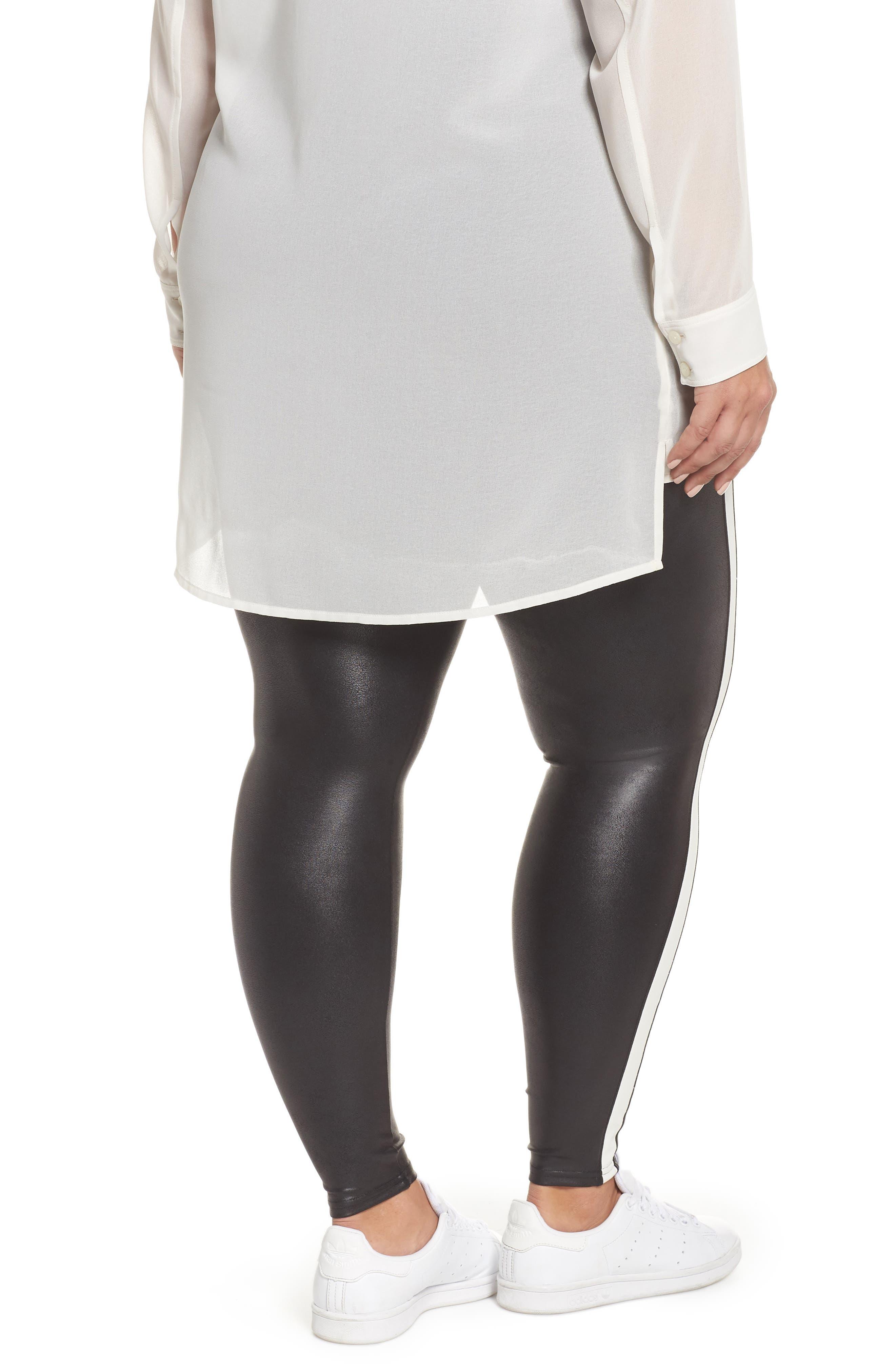 Side Stripe Faux Leather Leggings,                             Alternate thumbnail 2, color,                             VERY BLACK/WHT