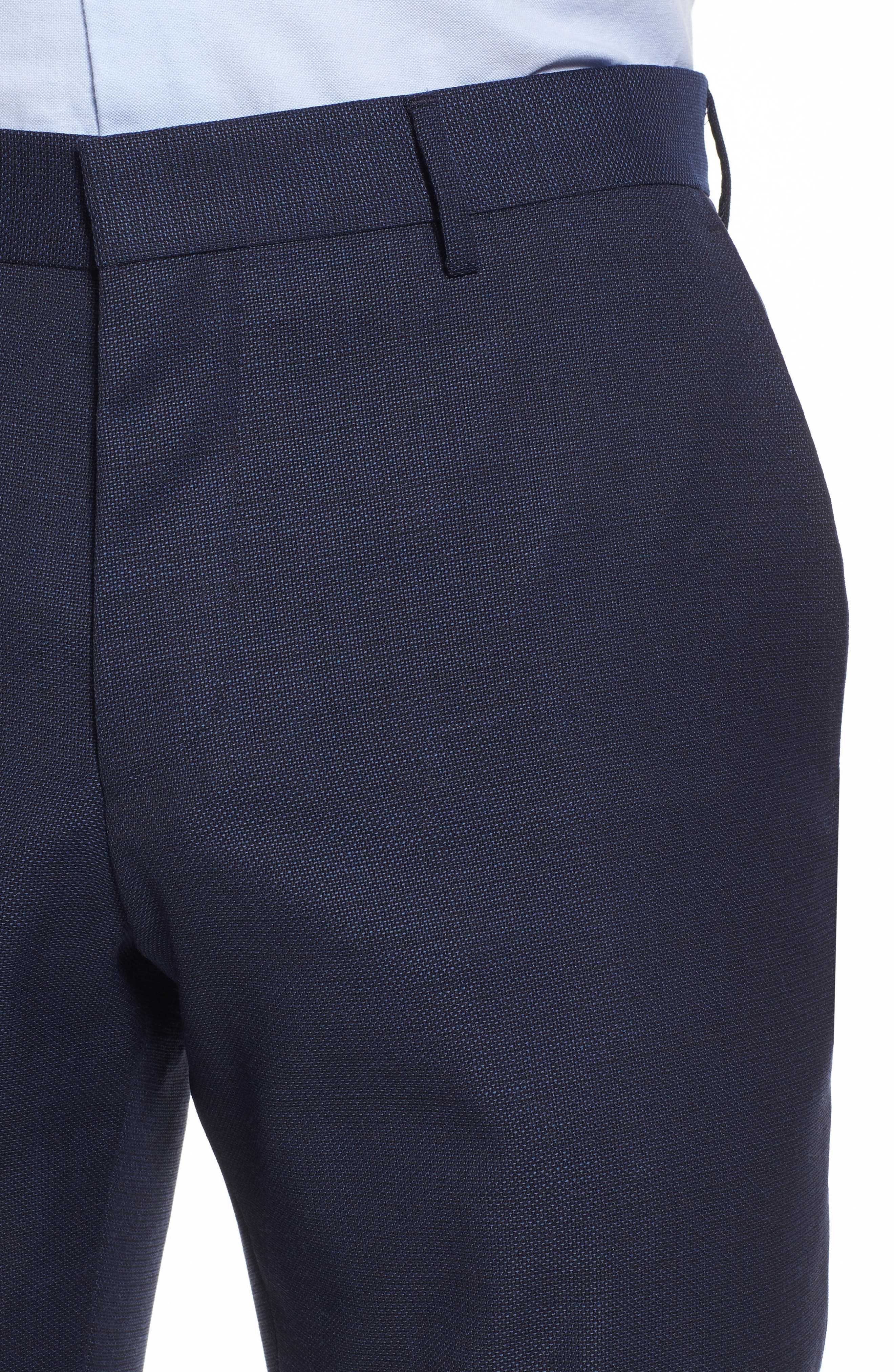 Blake Flat Front Solid Wool Trousers,                             Alternate thumbnail 5, color,                             401