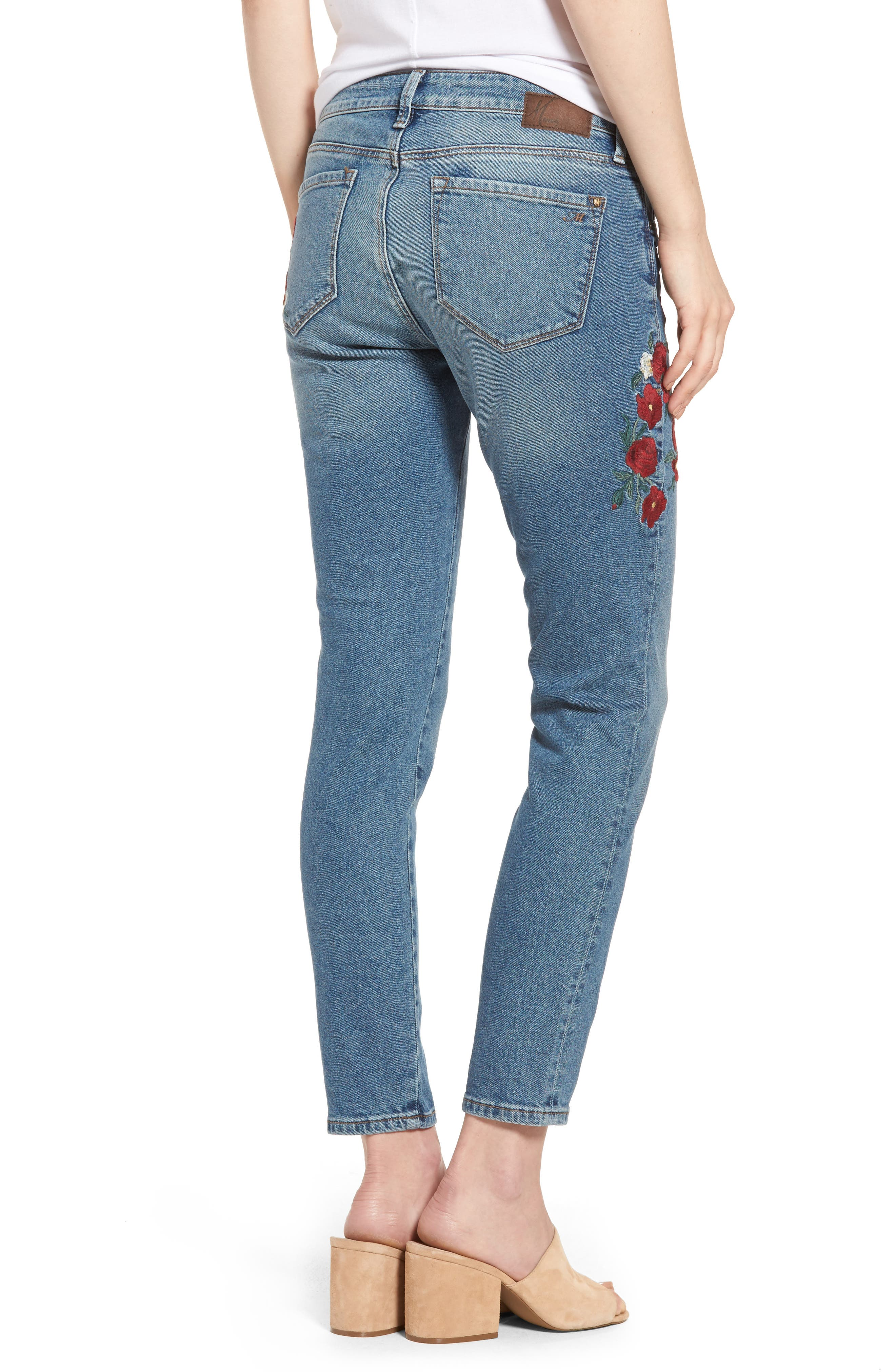 Adriana Embroidered Ankle Skinny Jeans,                             Alternate thumbnail 2, color,                             420