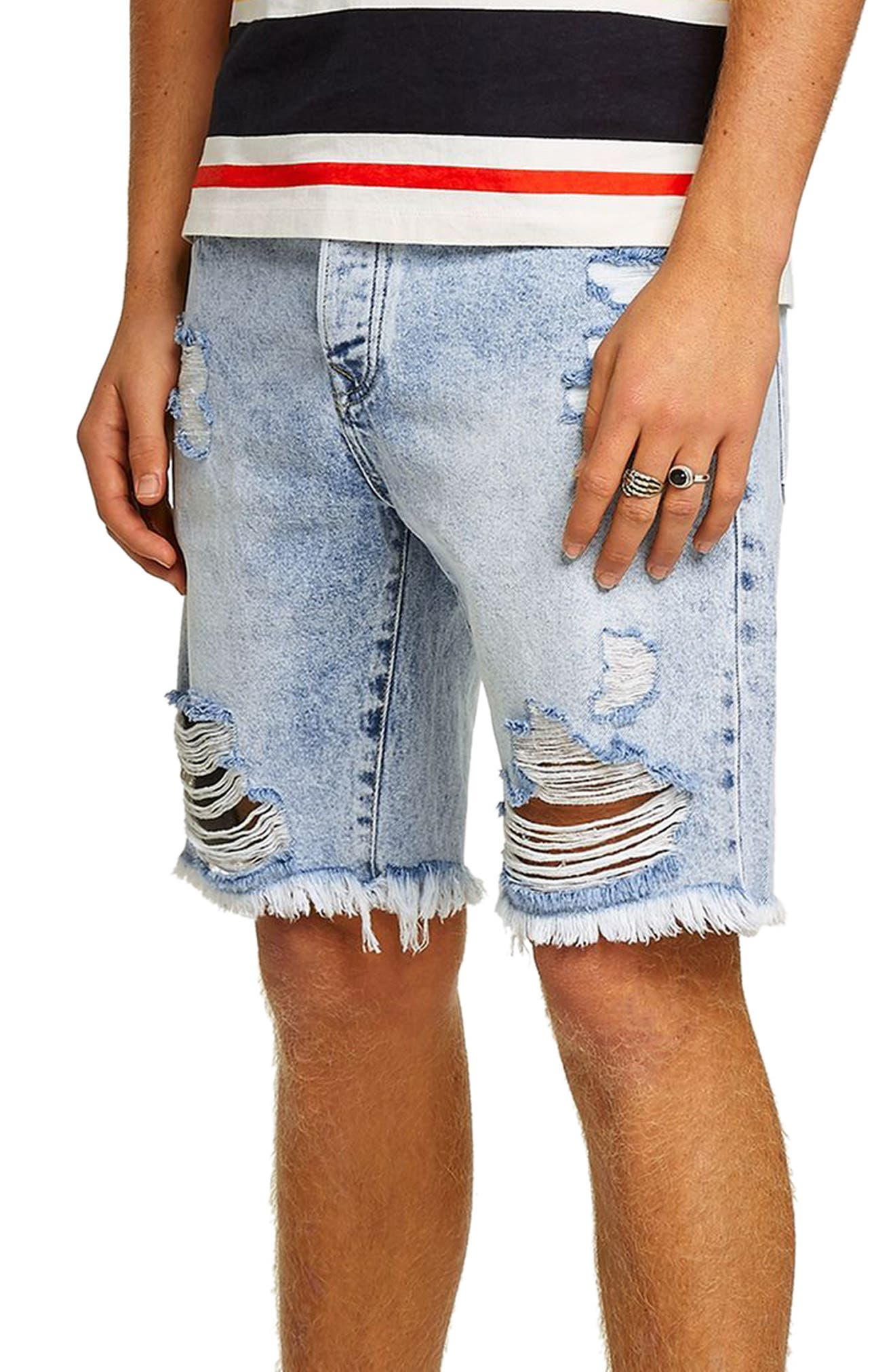 Slim Fit Ripped Denim Shorts,                         Main,                         color, 450