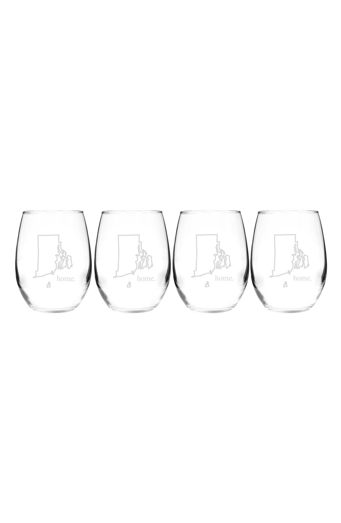Home State Set of 4 Stemless Wine Glasses,                             Main thumbnail 40, color,