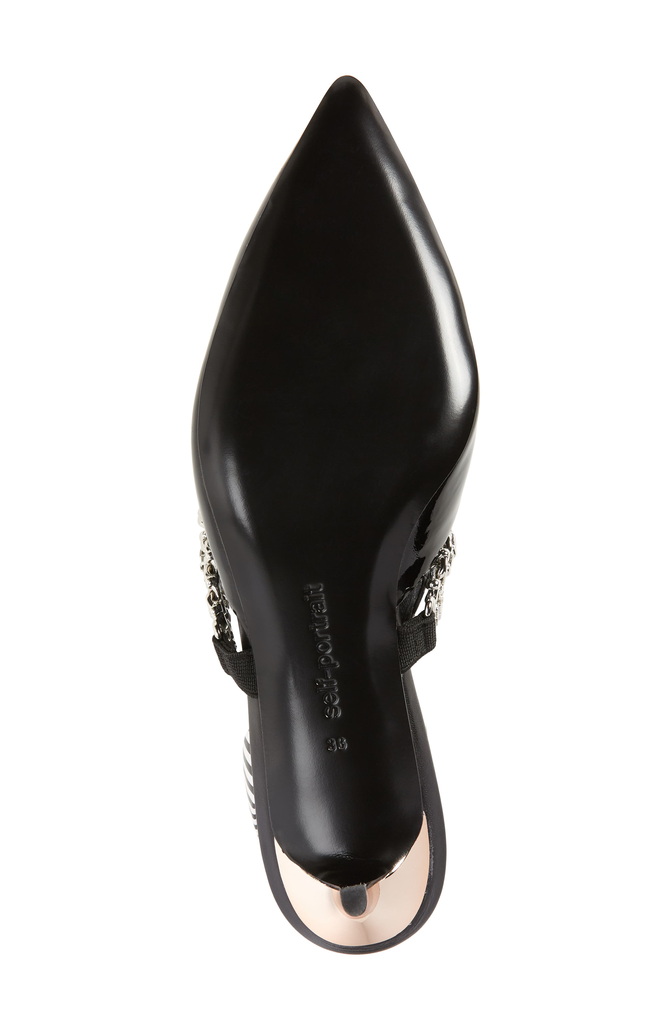 Kitty Chain Embellished Slingback Pump,                             Alternate thumbnail 6, color,                             001