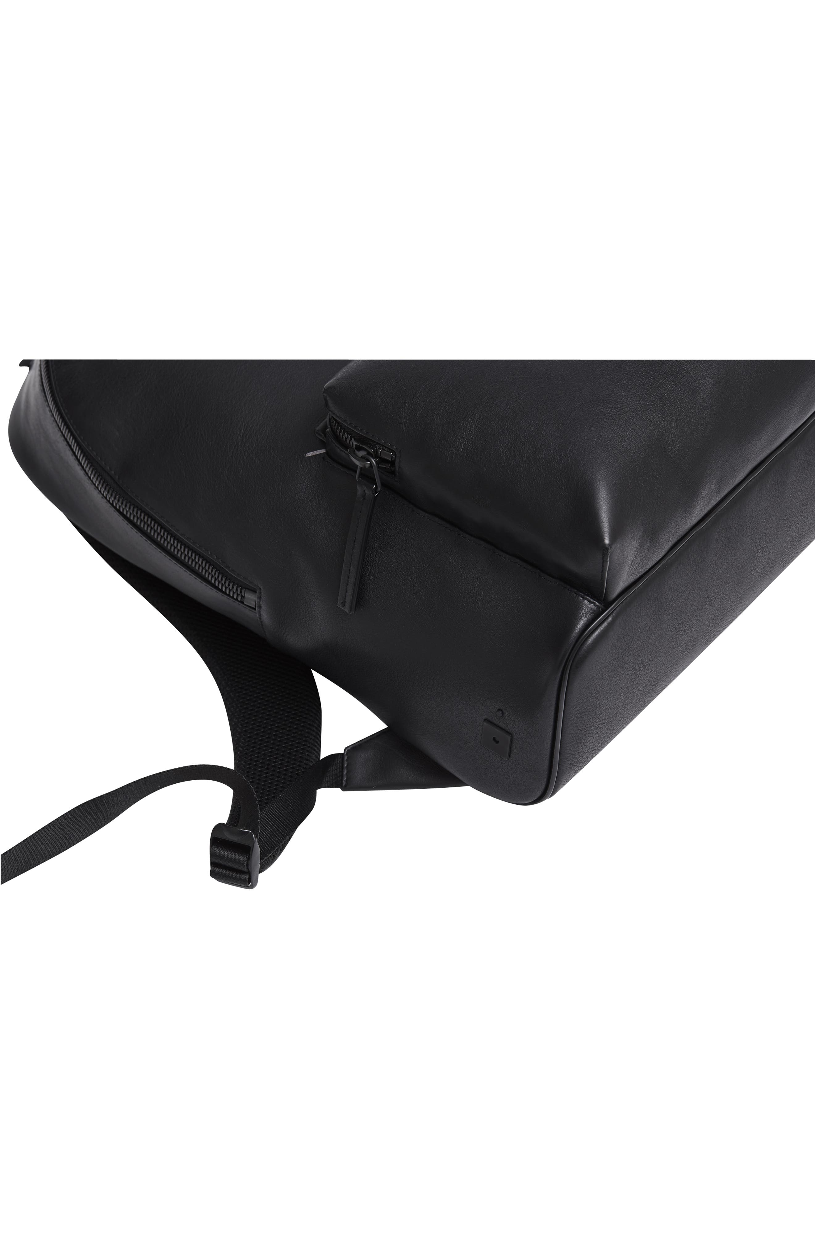 Leather Backpack,                             Alternate thumbnail 8, color,                             BLACK LEATHER