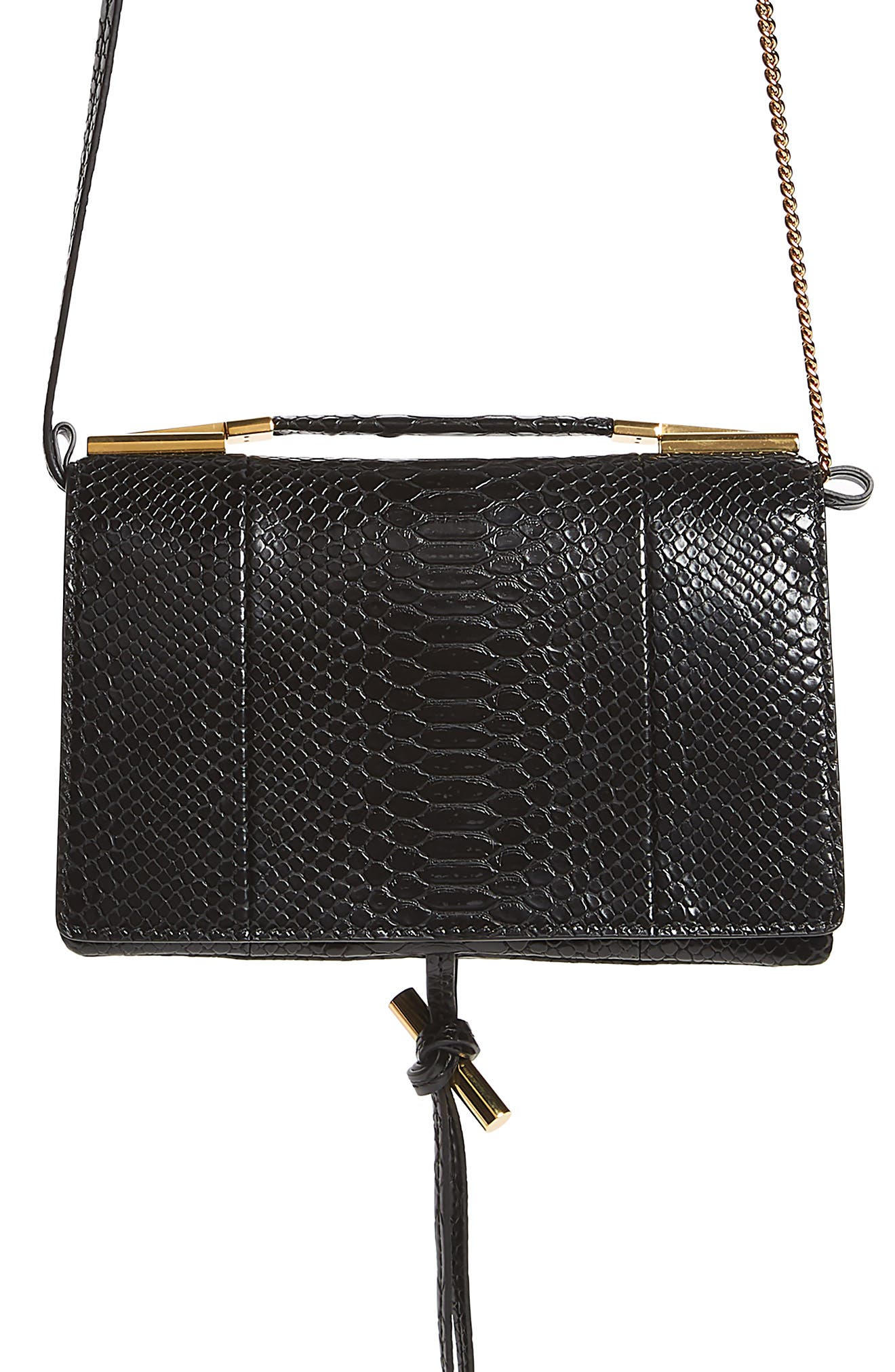 Small Flo Alter Snake Faux Leather Shoulder Bag,                             Main thumbnail 1, color,                             BLACK