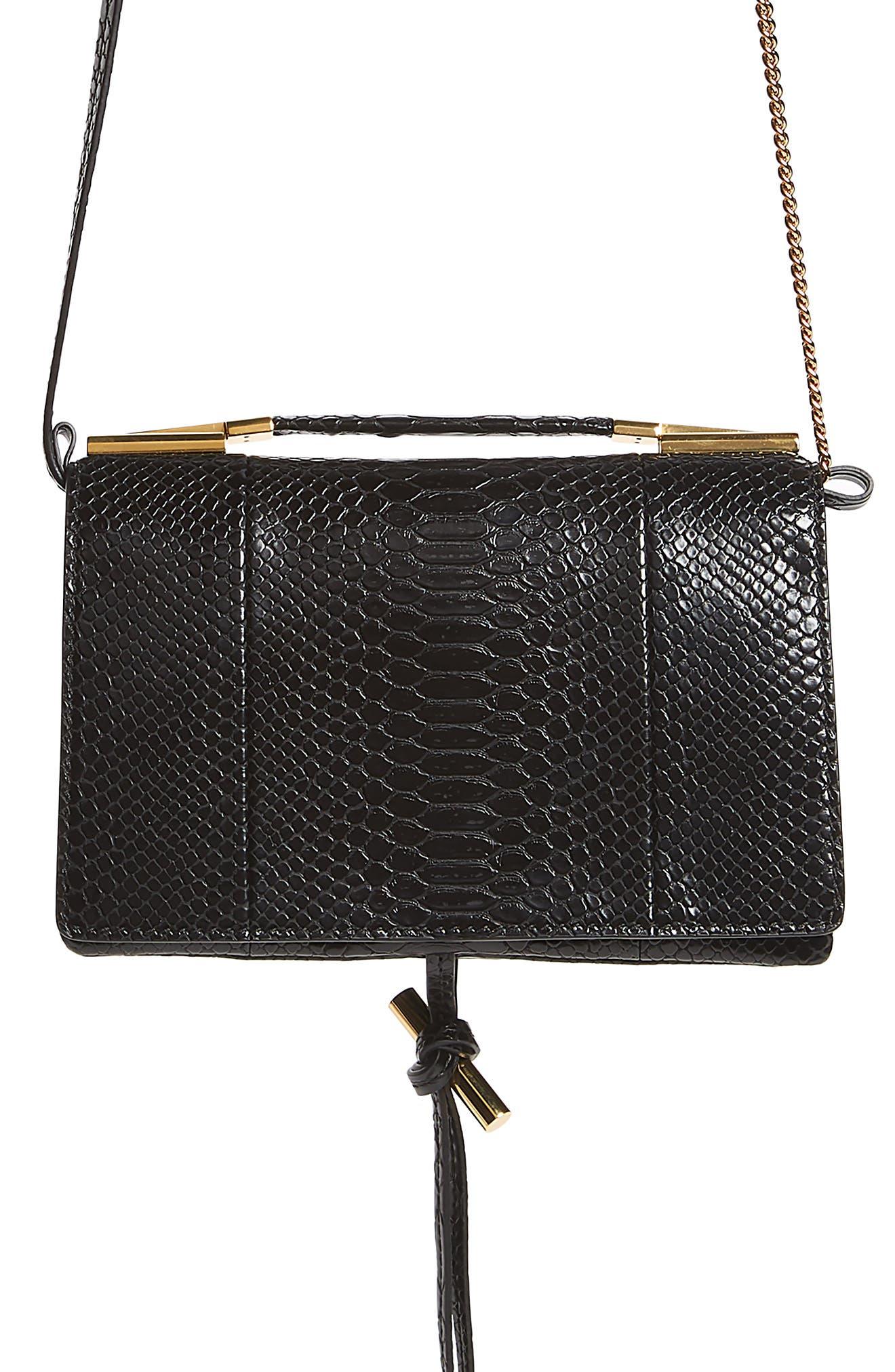 Small Flo Alter Snake Faux Leather Shoulder Bag,                         Main,                         color, 001