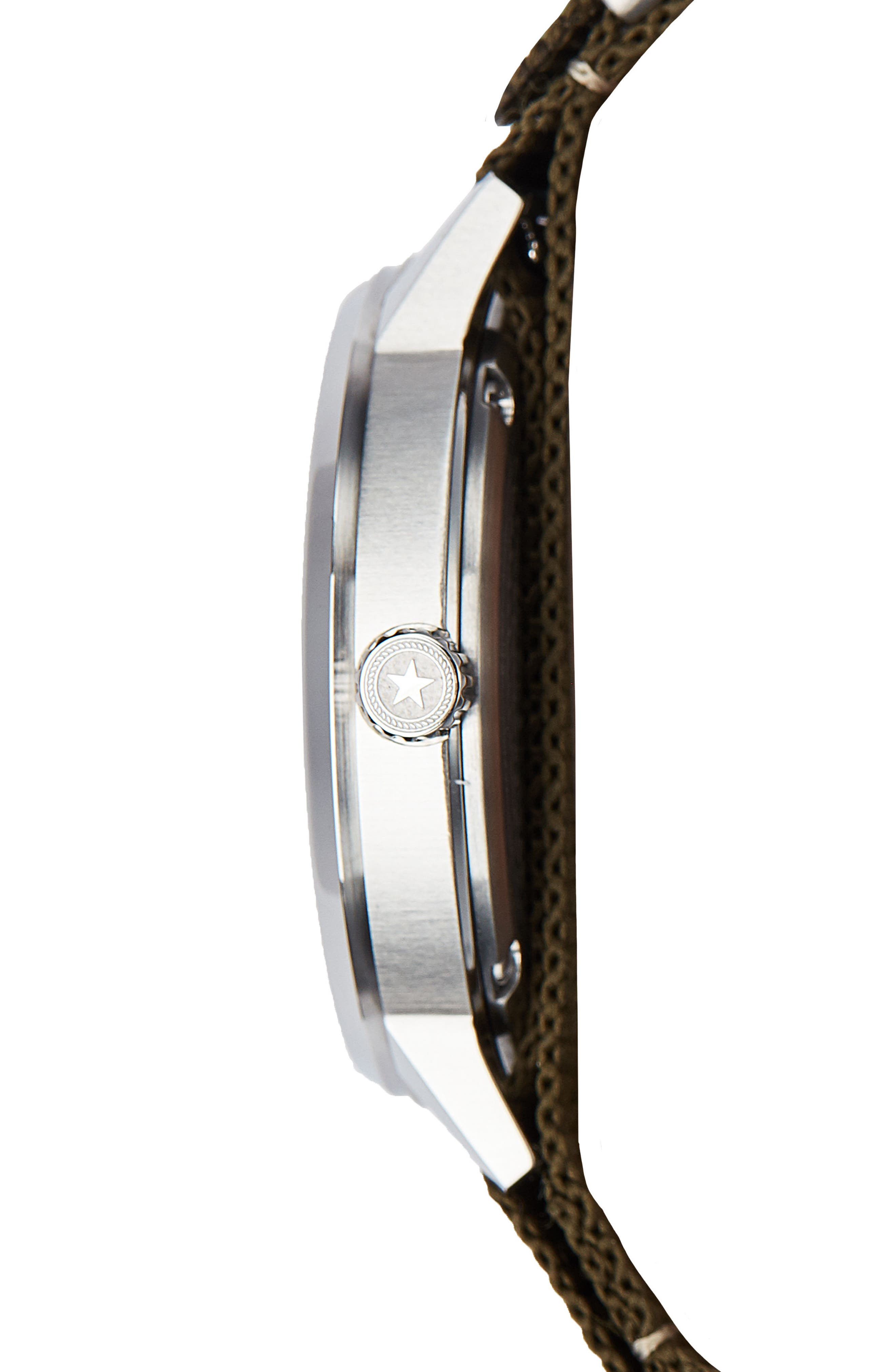 Field Nylon Strap Watch, 38mm,                             Alternate thumbnail 3, color,                             NAVY/ OLIVE