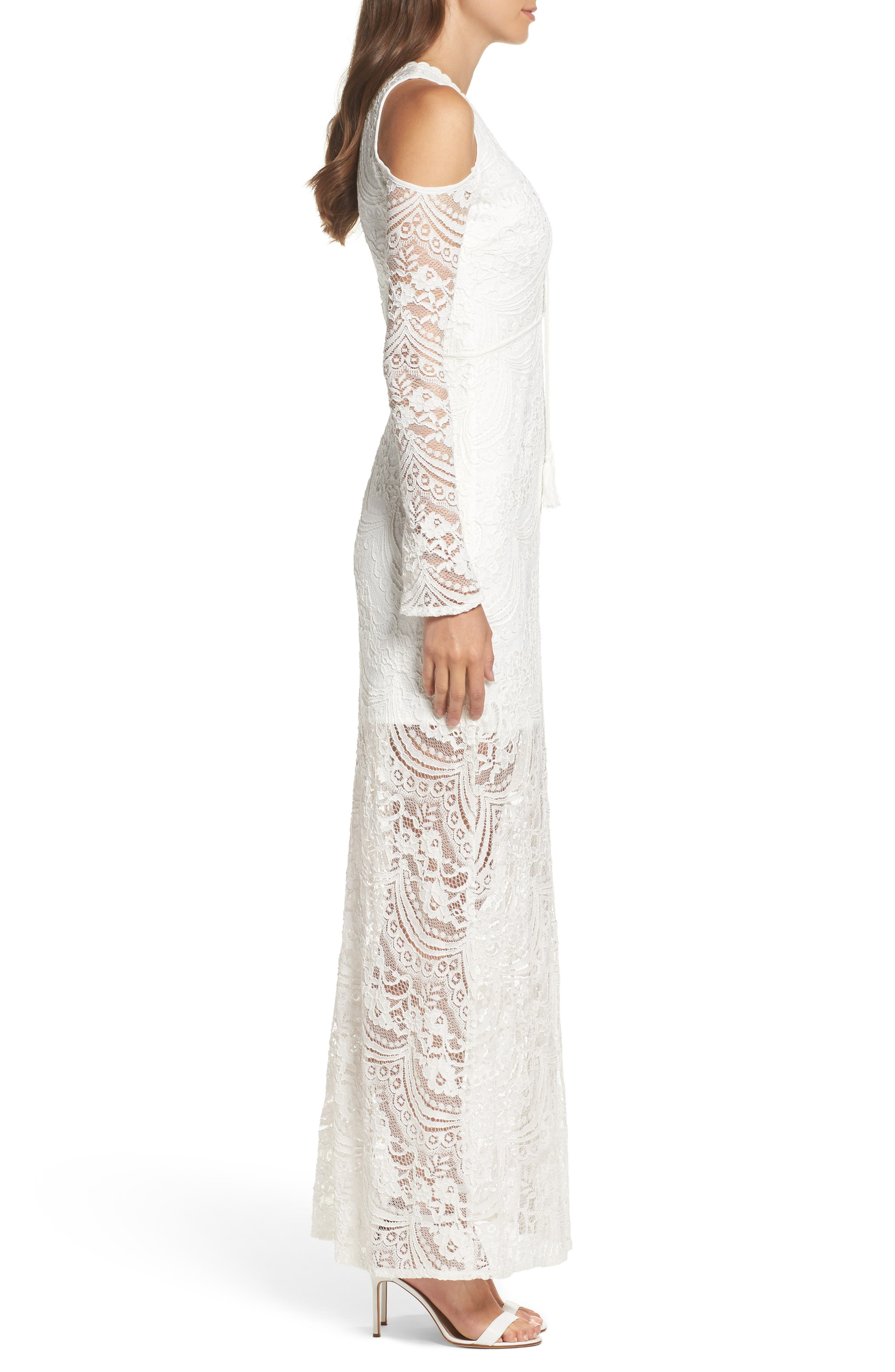 Lace-Up Cold Shoulder Gown,                             Alternate thumbnail 3, color,                             100