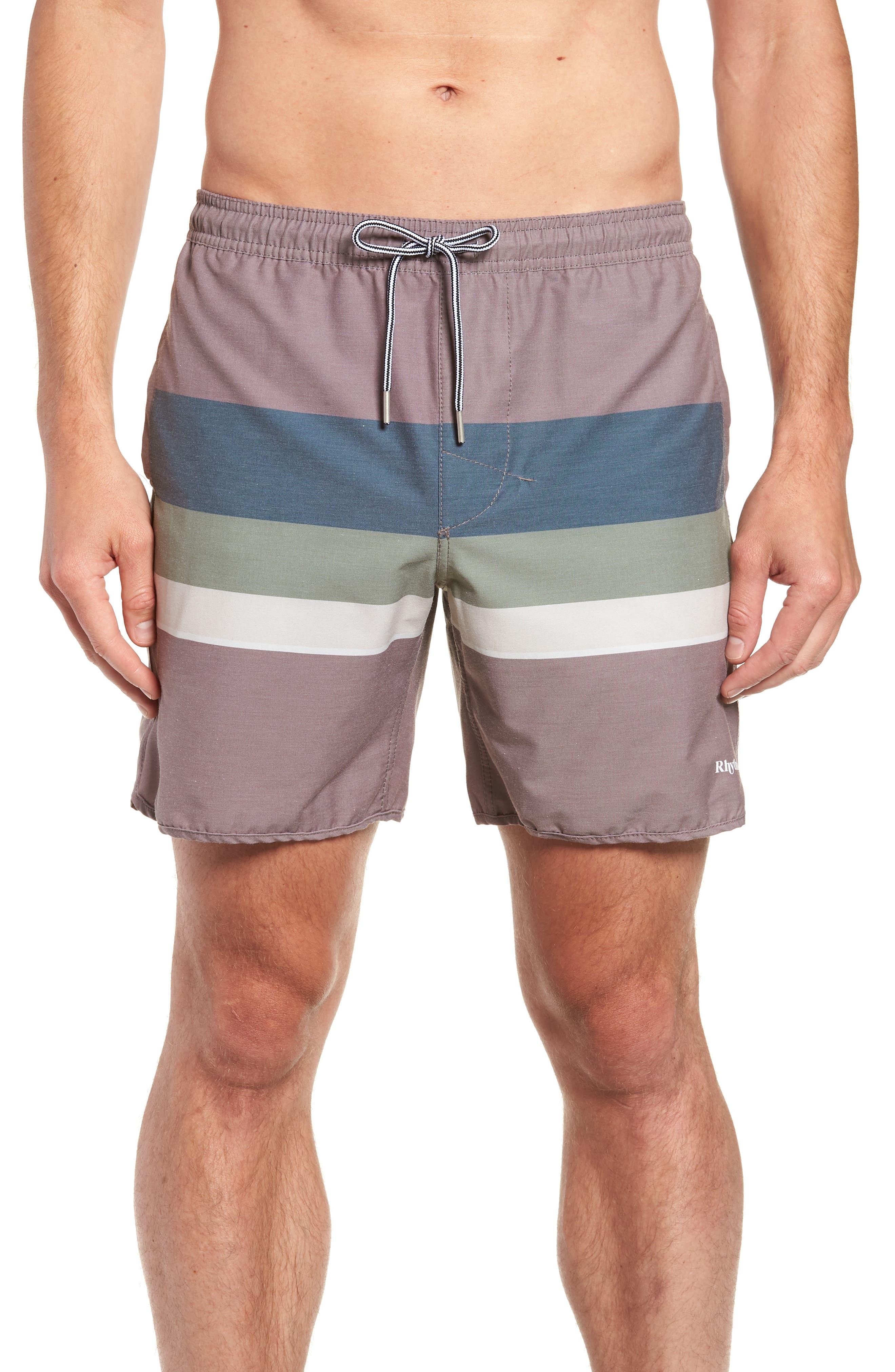 Retro Stripe Beach Swim Trunks,                         Main,                         color, MUSK