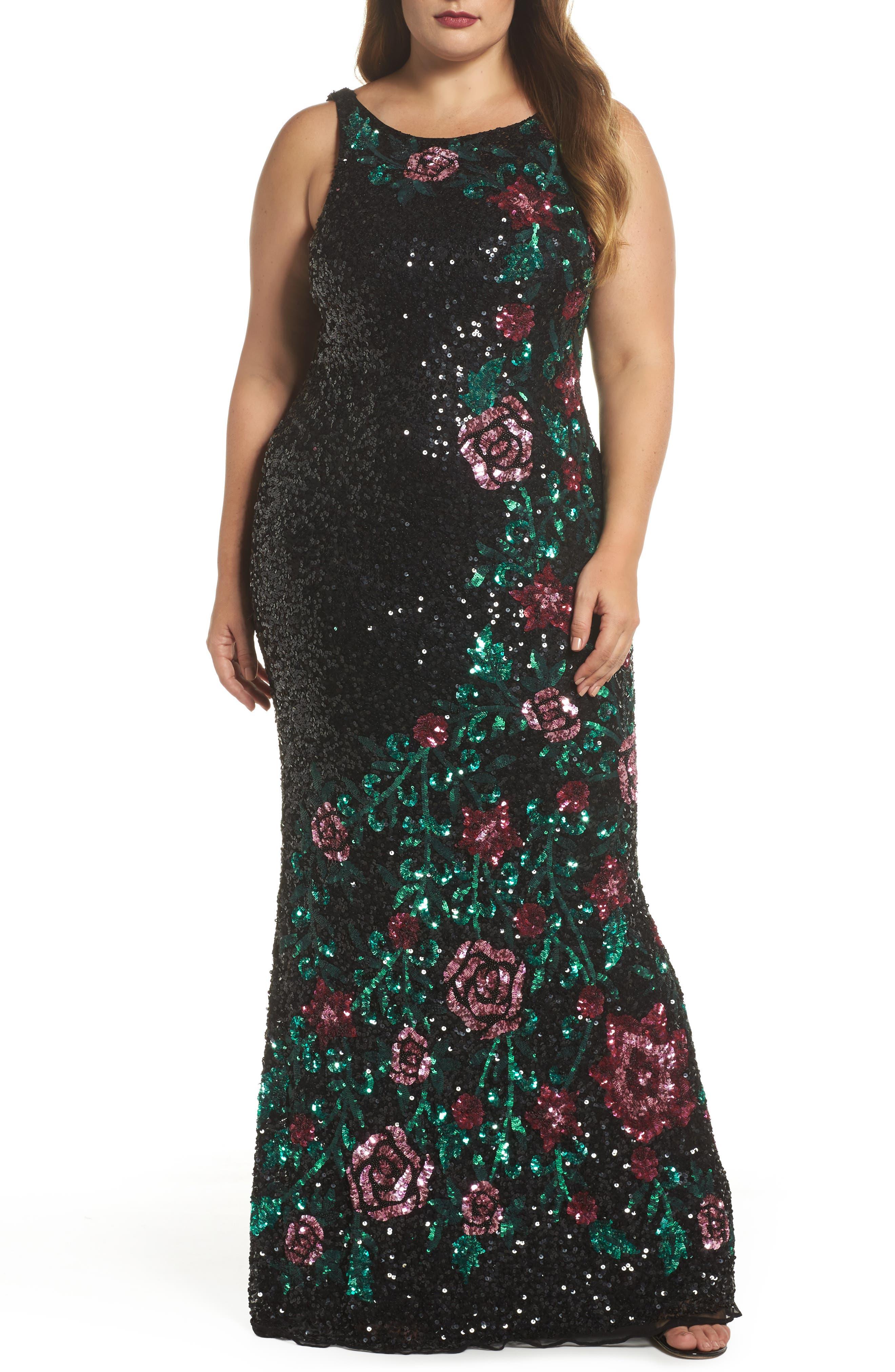 Floral Sequin A-Line Gown,                             Main thumbnail 1, color,                             BLACK/ MULTI