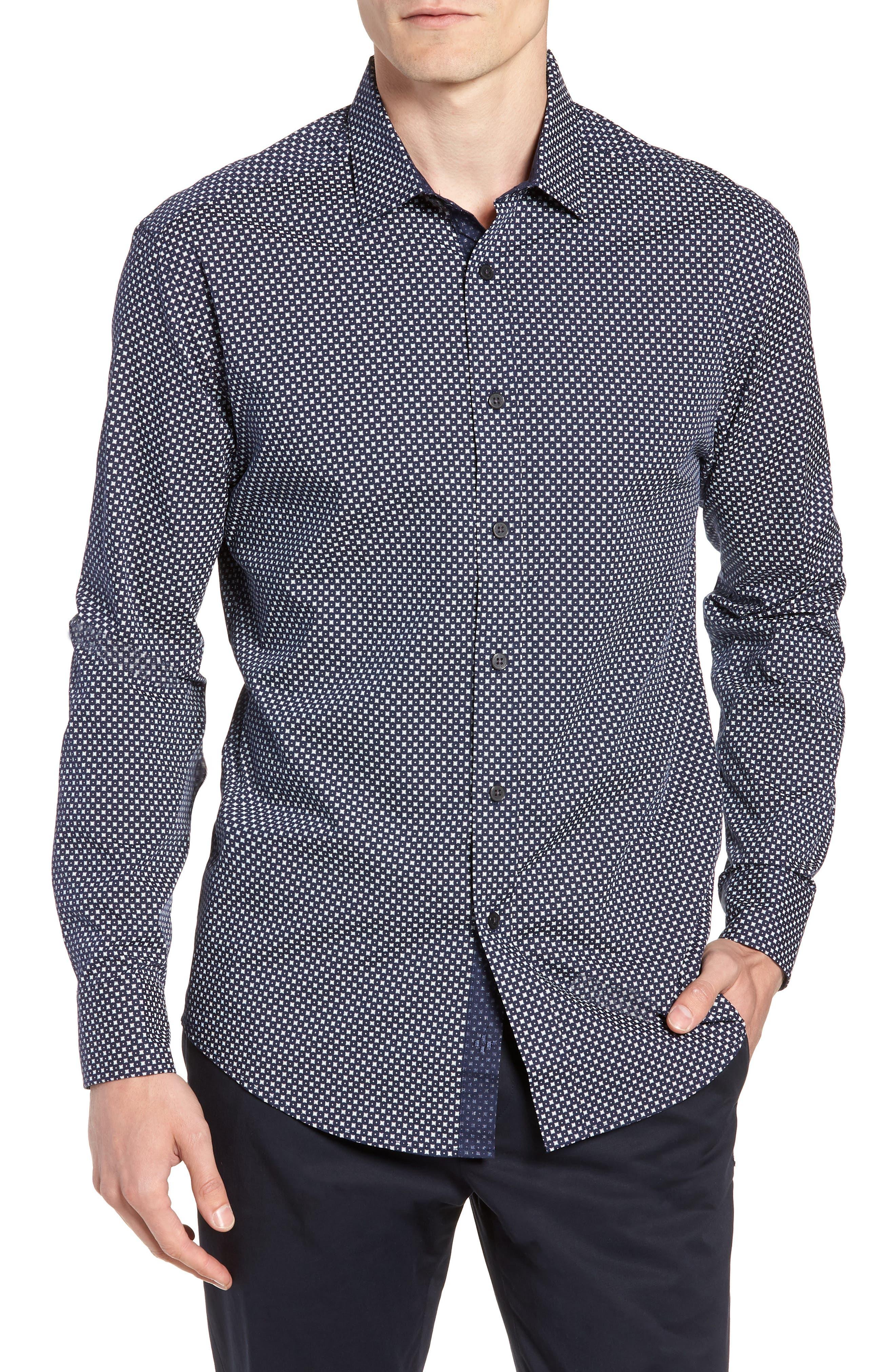Regular Fit Geometric Dot Sport Shirt,                         Main,                         color, NAVY/ WHITE POPLIN PRINT
