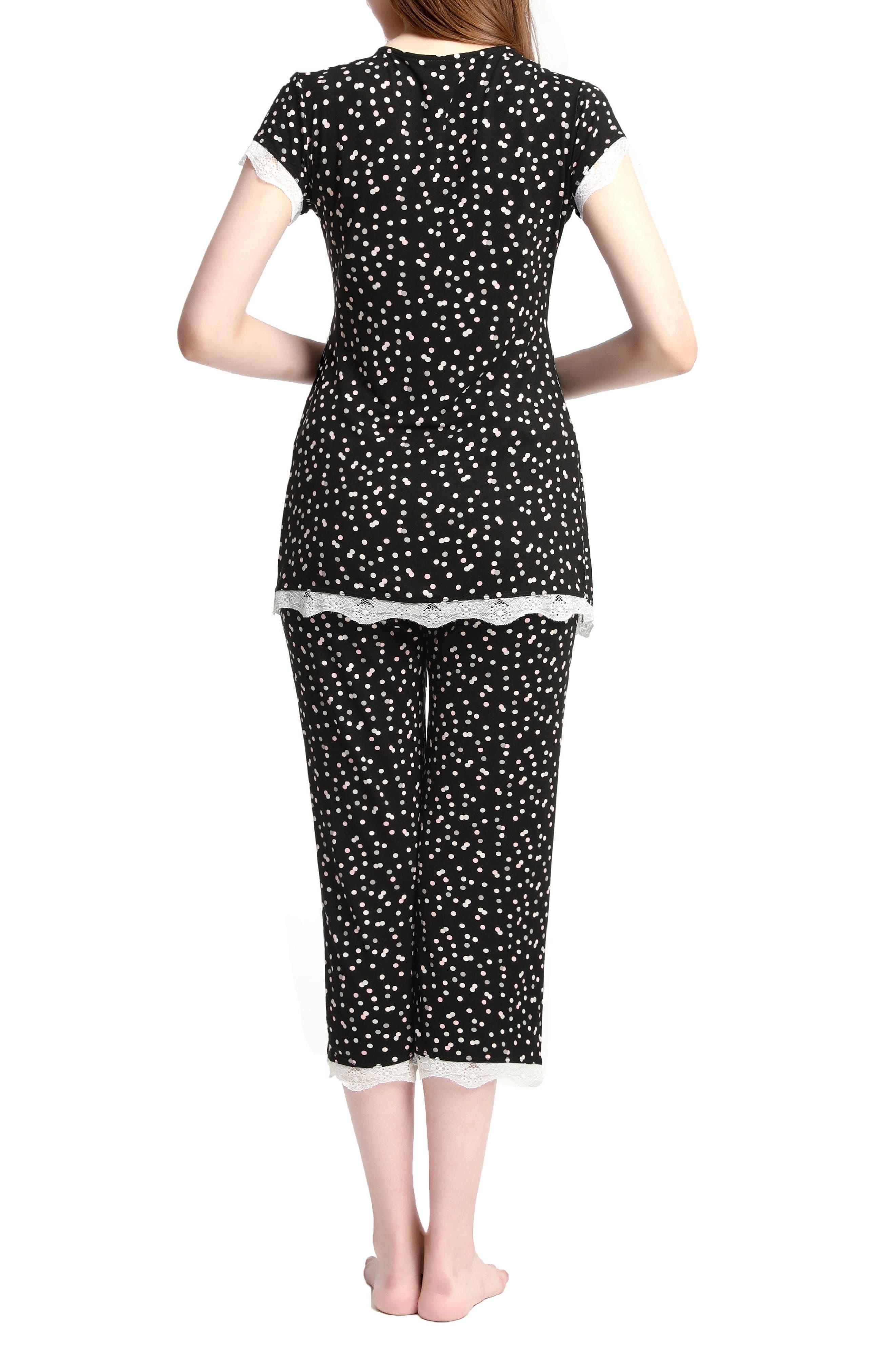 Kimi & Kai Addison Nursing/Maternity Pajamas,                             Alternate thumbnail 2, color,                             BLACK