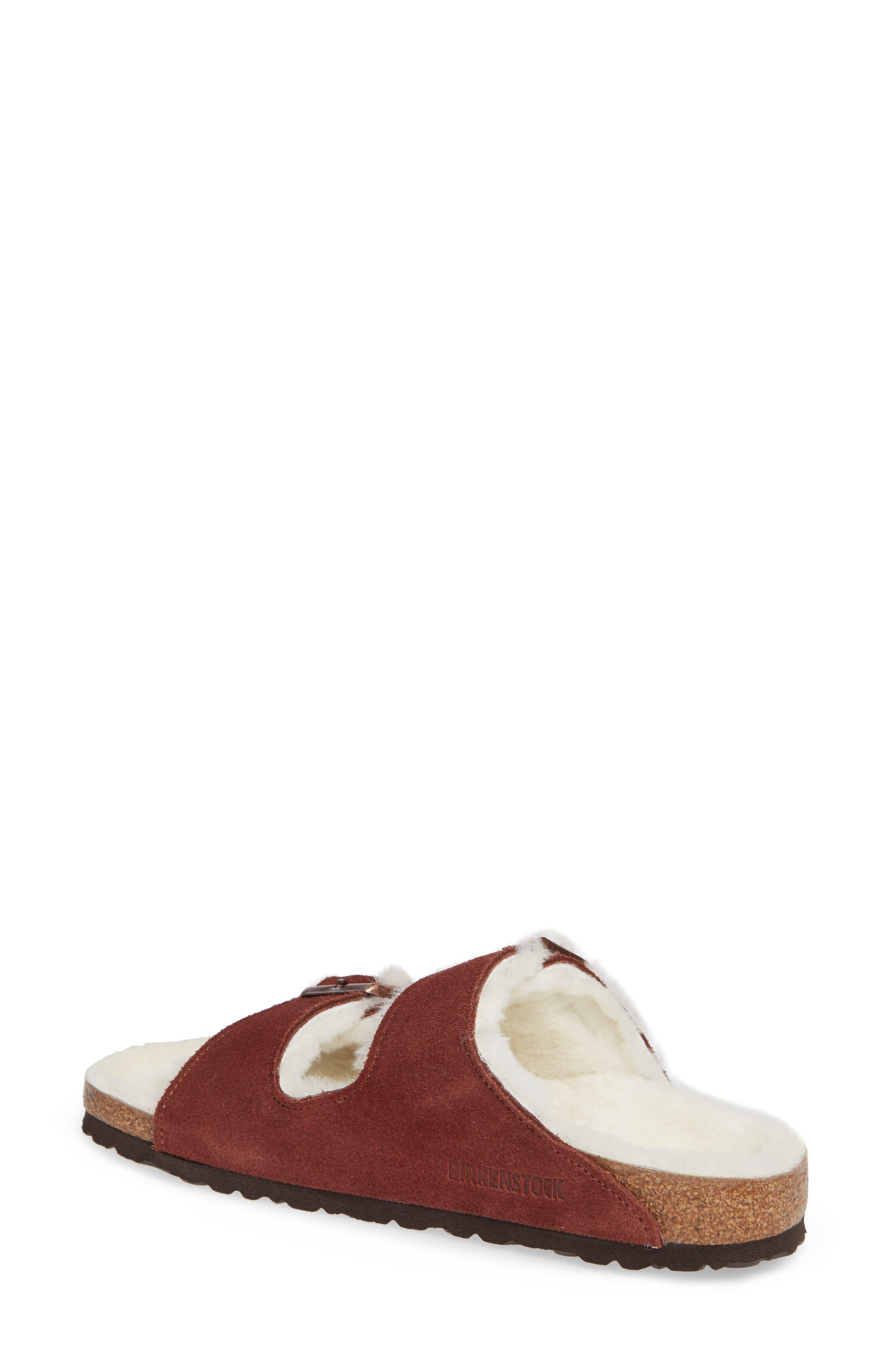 'Arizona' Genuine Shearling Lined Sandal,                             Alternate thumbnail 2, color,                             PORT SUEDE