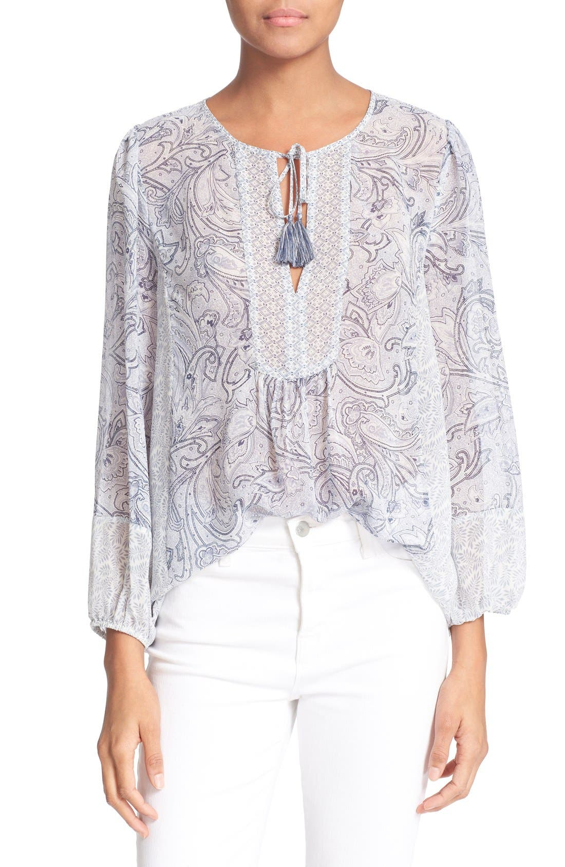 JOIE,                             'Acerila' Mixed Print Silk Peasant Top,                             Main thumbnail 1, color,                             430