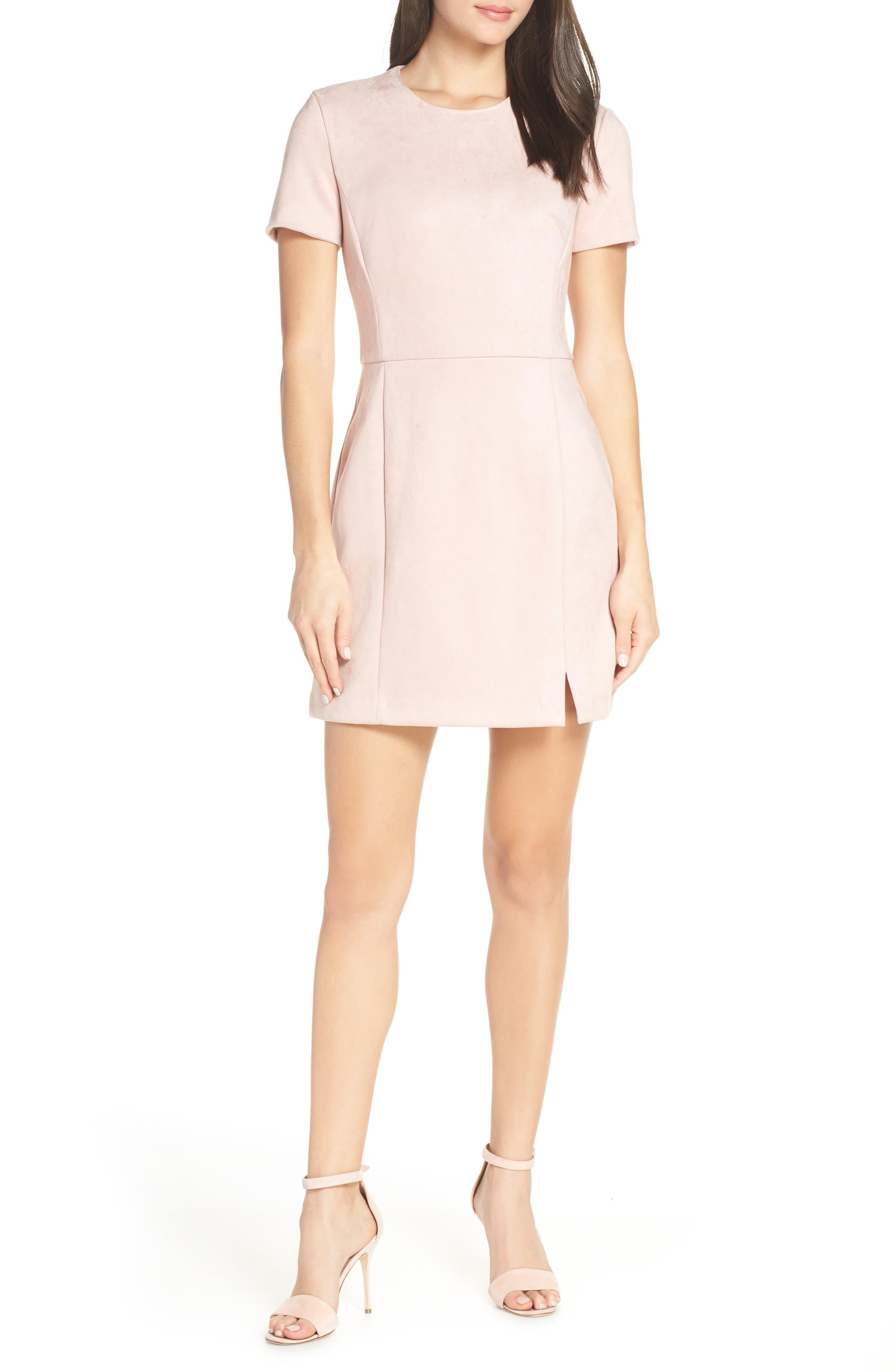 Short Sleeve Faux Suede Dress,                             Main thumbnail 1, color,                             TEAGOWN