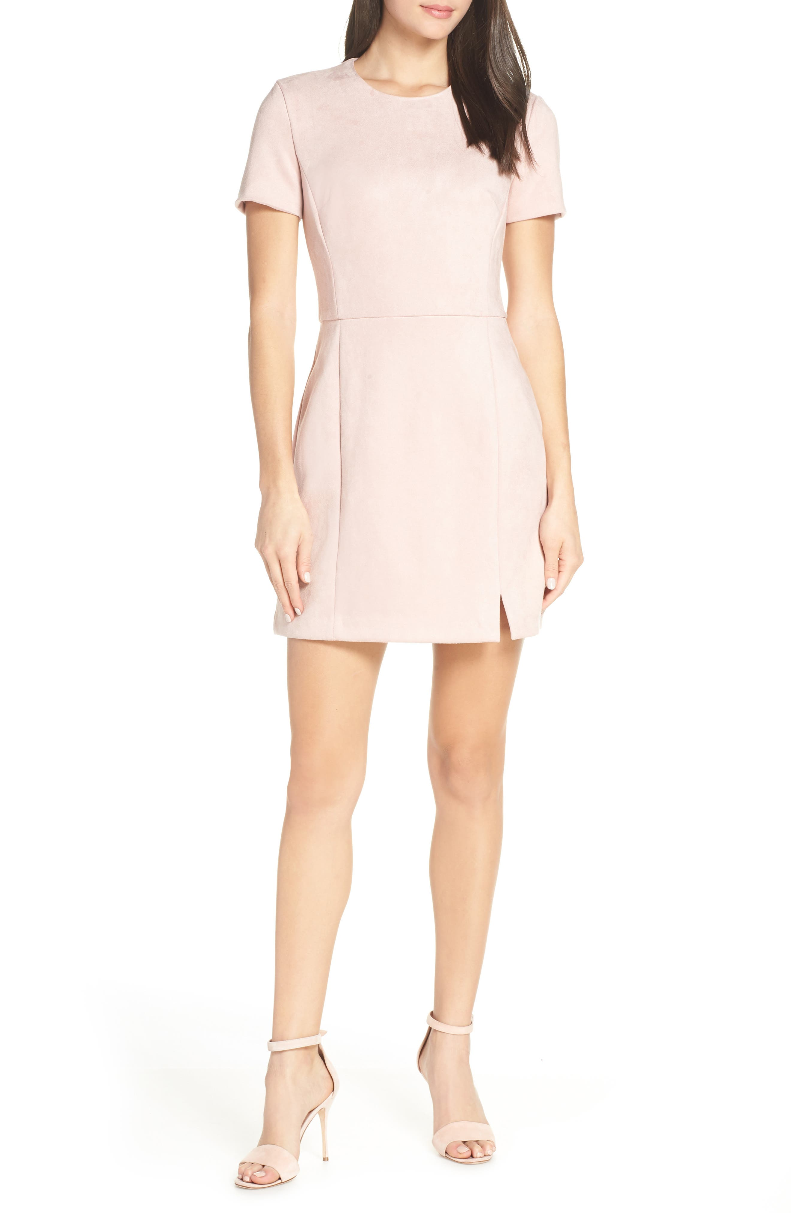 Short Sleeve Faux Suede Dress, Main, color, TEAGOWN