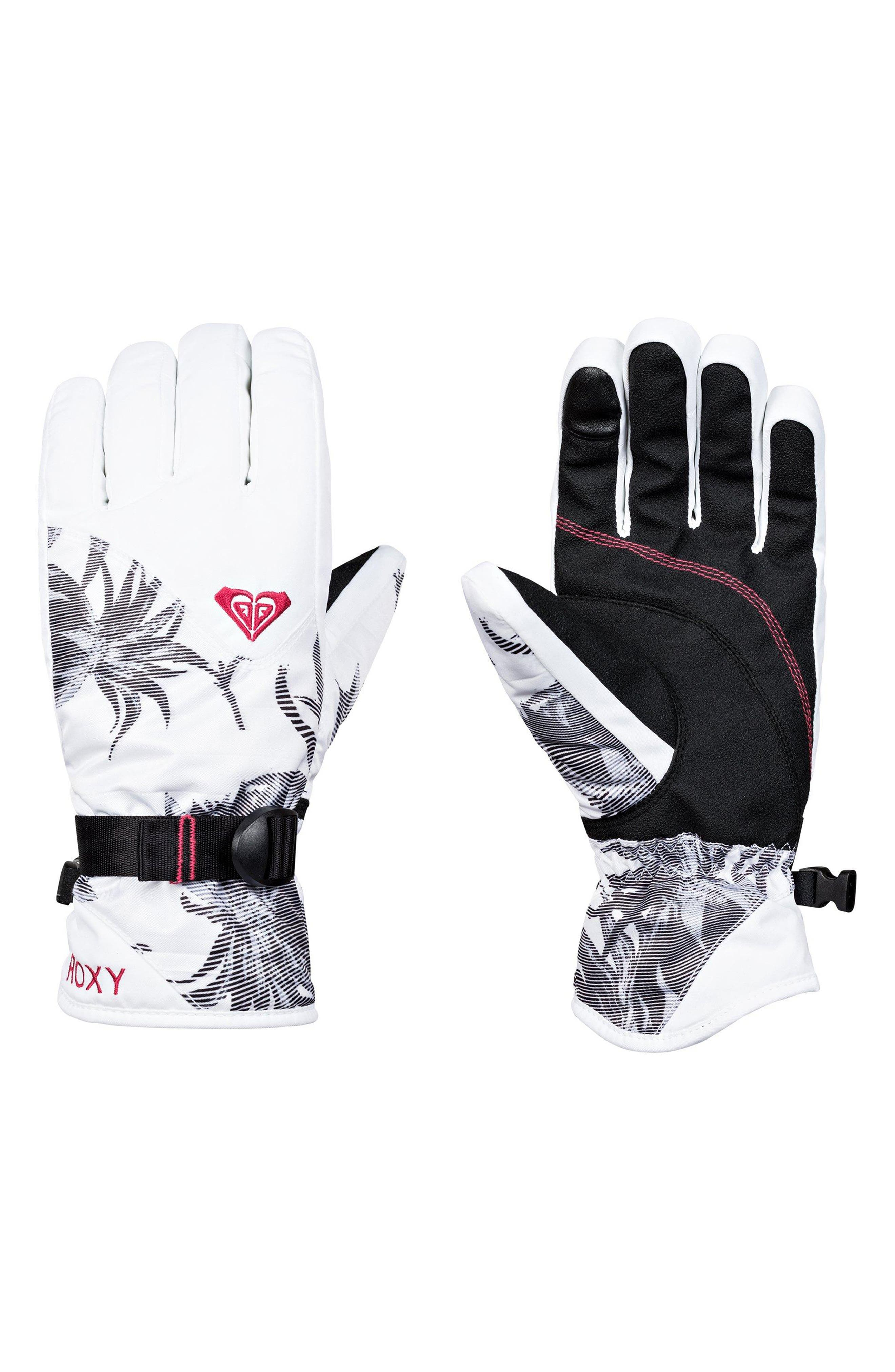 Jetty Print Snow Sport Gloves,                             Main thumbnail 1, color,                             BRIGHT WHITE/ SWELL FLOWERS