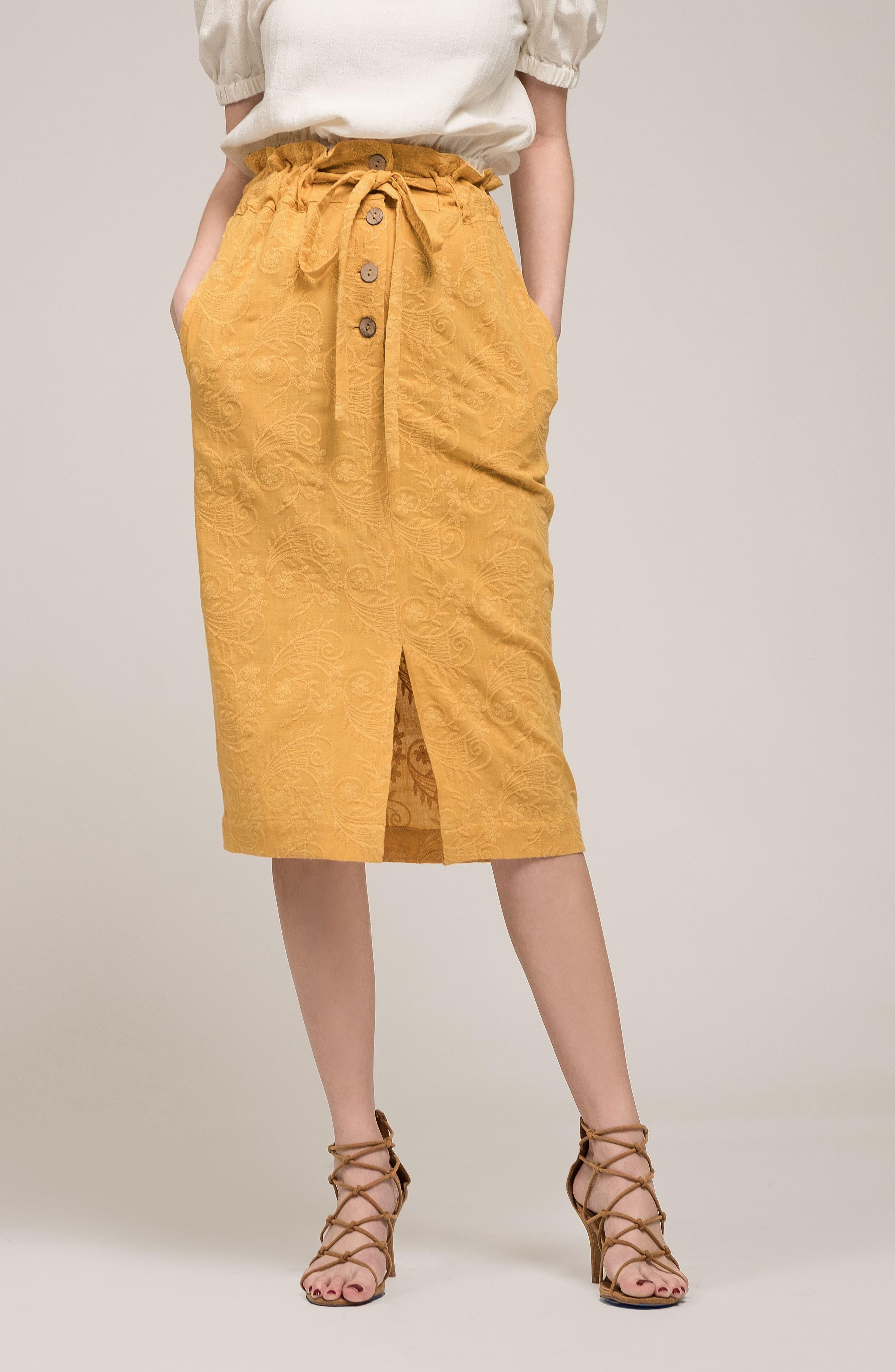 Embroidered Paperbag Waist Skirt,                             Alternate thumbnail 7, color,                             700