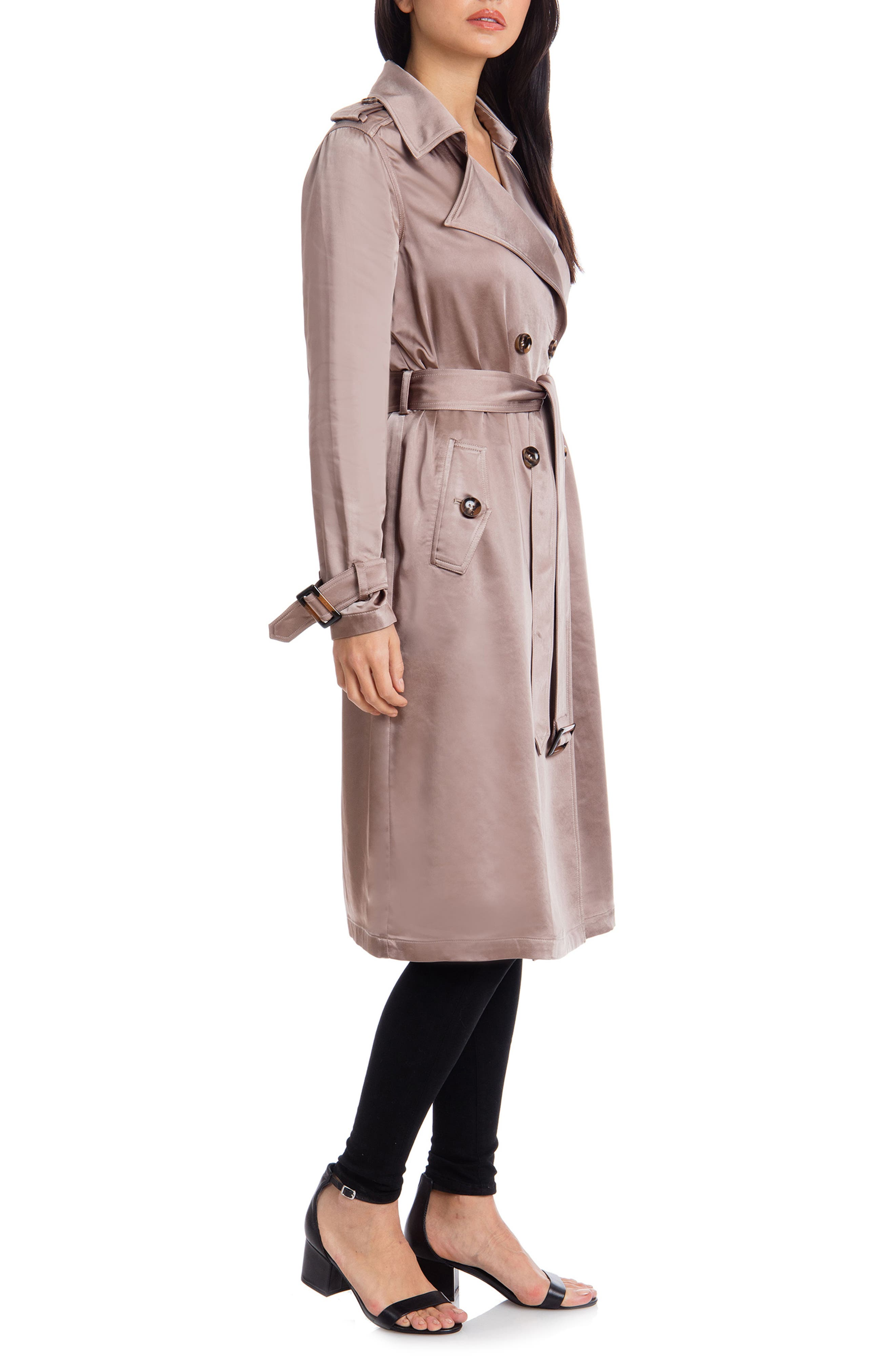 BADGLEY MISCHKA COLLECTION,                             Badgley Mischka Double Breasted Satin Trench Coat,                             Alternate thumbnail 3, color,                             TAUPE