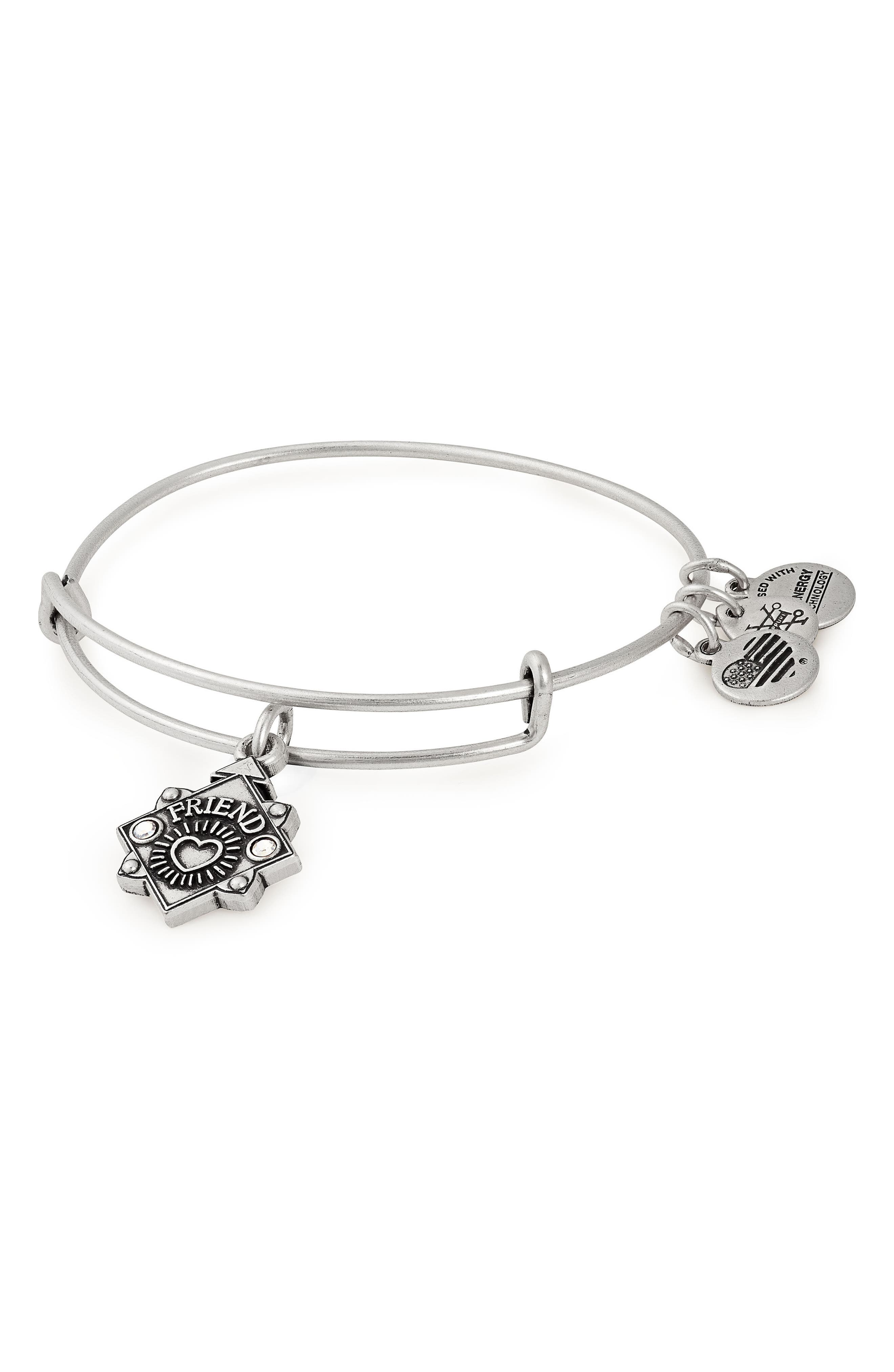 ALEX AND ANI,                             Because I Love You Friend Bracelet,                             Main thumbnail 1, color,                             SILVER